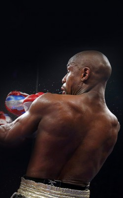 Pacquiao of the Philippines lands a punch against Mayweather, Jr