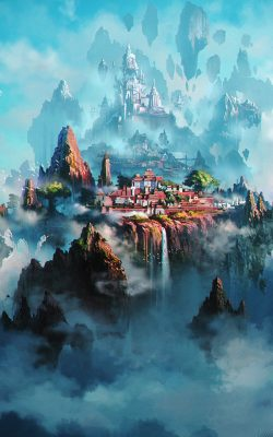 av36-cloud-town-fantasy-anime-liang-xing-illustration-art-green