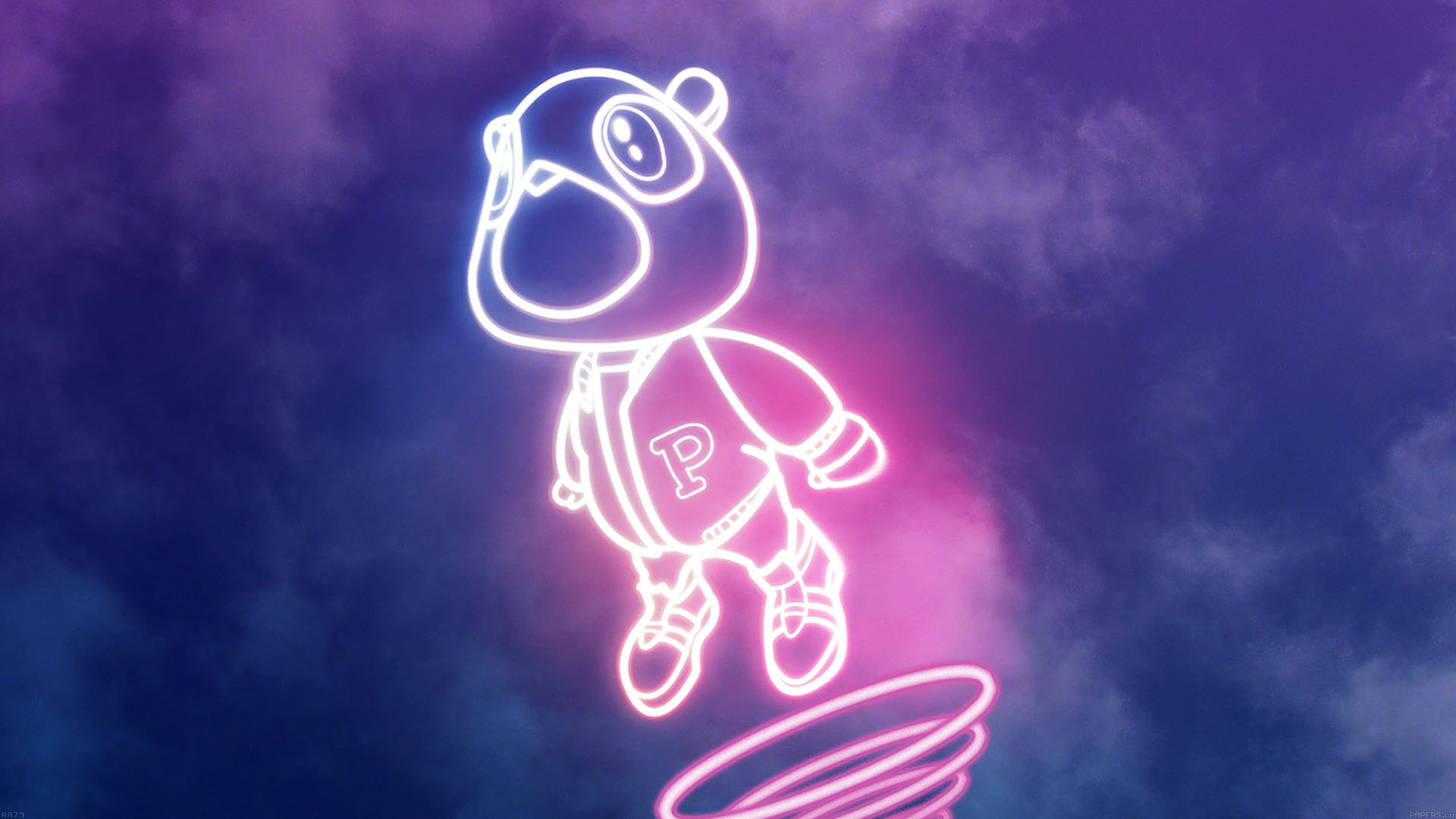 aa79 wallpaper drop out bear of kanye illust music