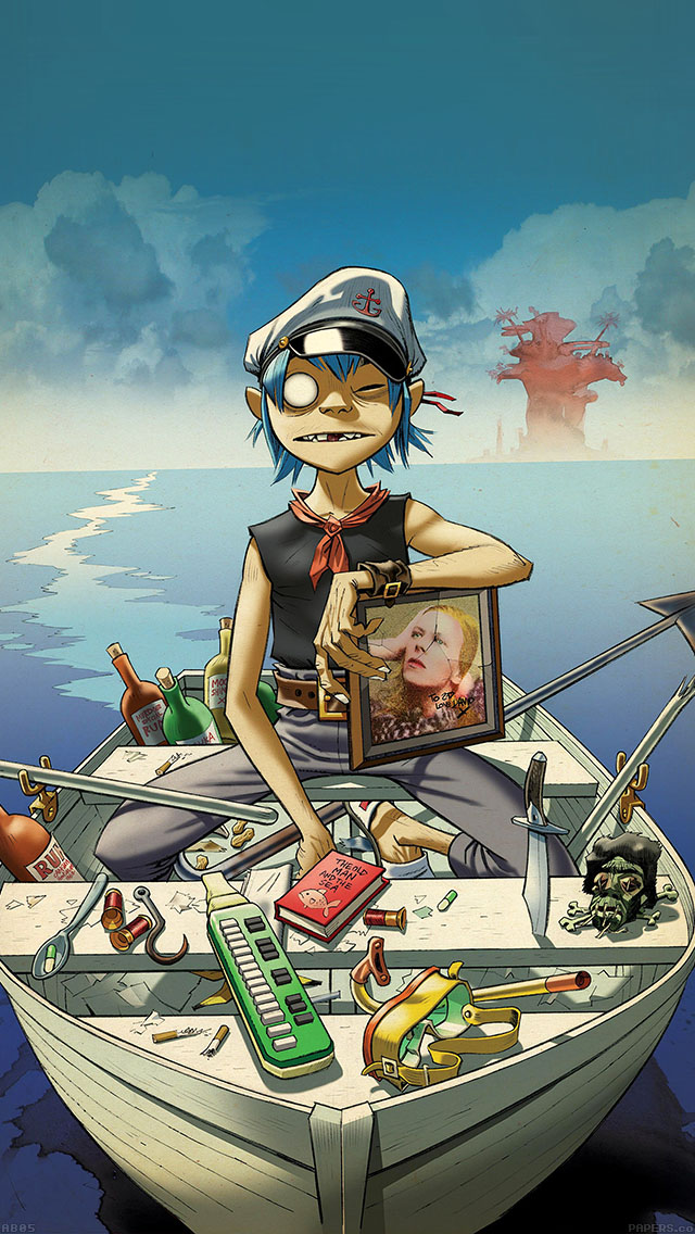 freeios8.com-iphone-4-5-6-ipad-ios8-ab05-wallpaper-gorillaz-boat-illust-music