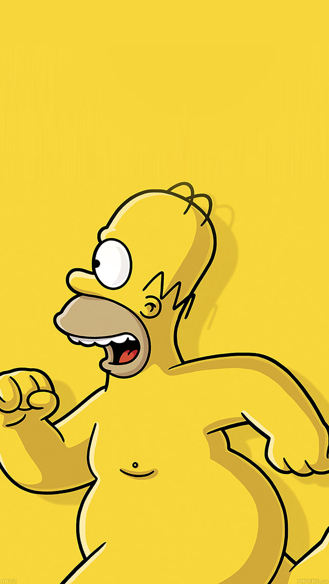 freeios8.com-iphone-4-5-6-ipad-ios8-ab22-wallpaper-catch-homer-if-you-can-homer-simpsons-illust