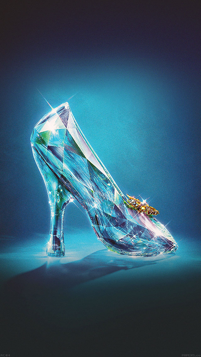 freeios8.com-iphone-4-5-6-ipad-ios8-ac04-wallpaper-cinderella-glass-slipper-shoes-illust