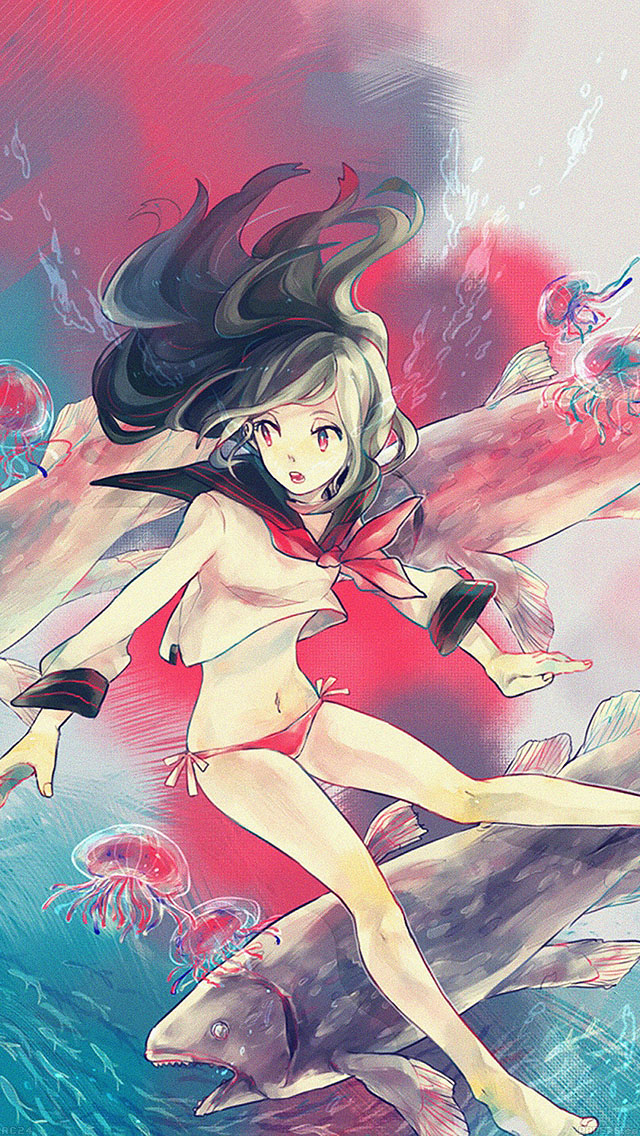 freeios8.com-iphone-4-5-6-ipad-ios8-ac24-wallpaper-girl-in-ocean-anime-illust