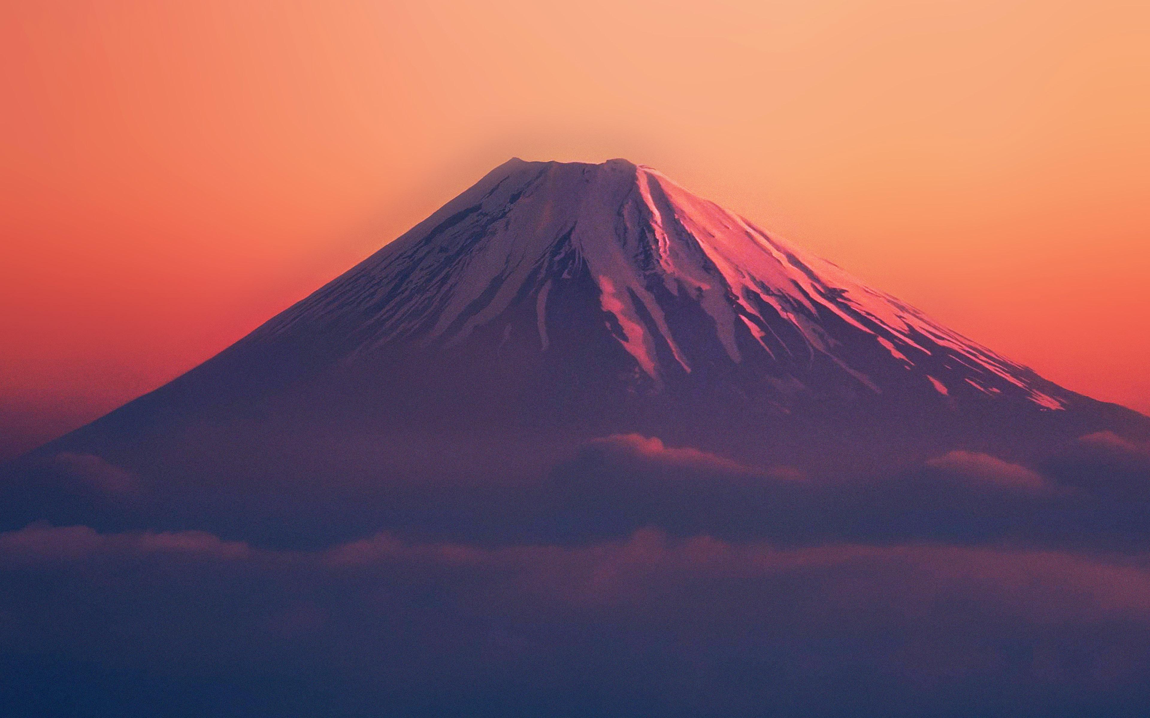 Ad53 Fuji Red Mountain Alone Wallpaper