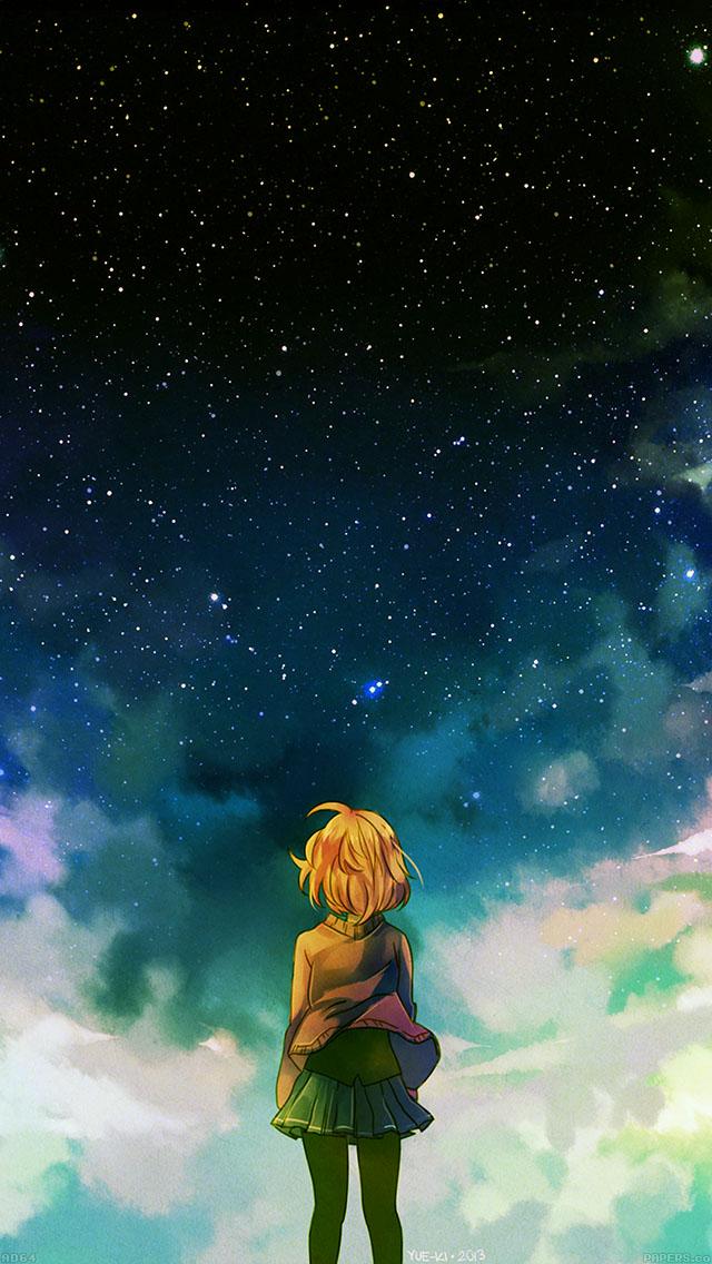 freeios8.com-iphone-4-5-6-ipad-ios8-ad64-starry-night-illust-anime-girl