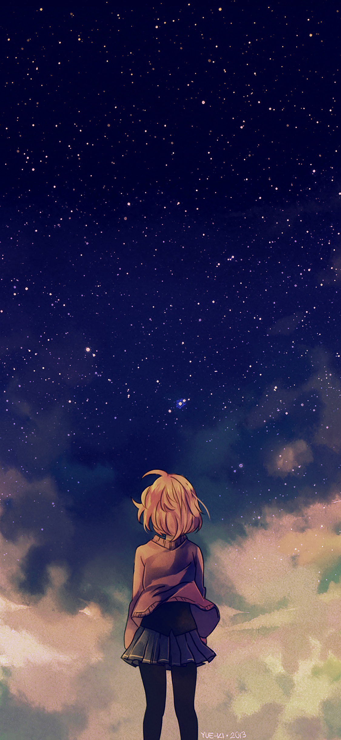 Ad65 Starry Space Illust Anime Girl Wallpaper
