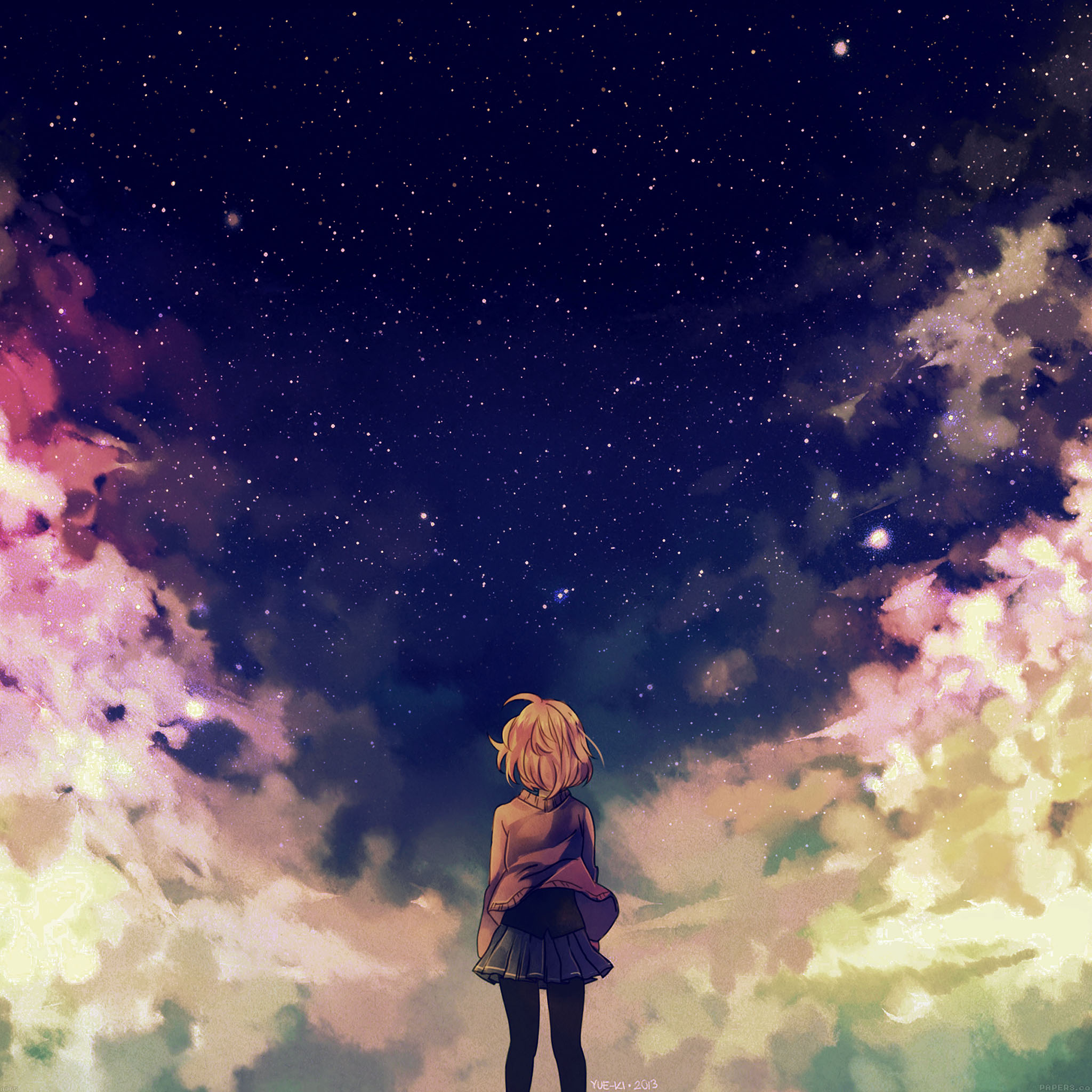 Samsung Wallpaper: Ad65-starry-space-illust-anime-girl-wallpaper