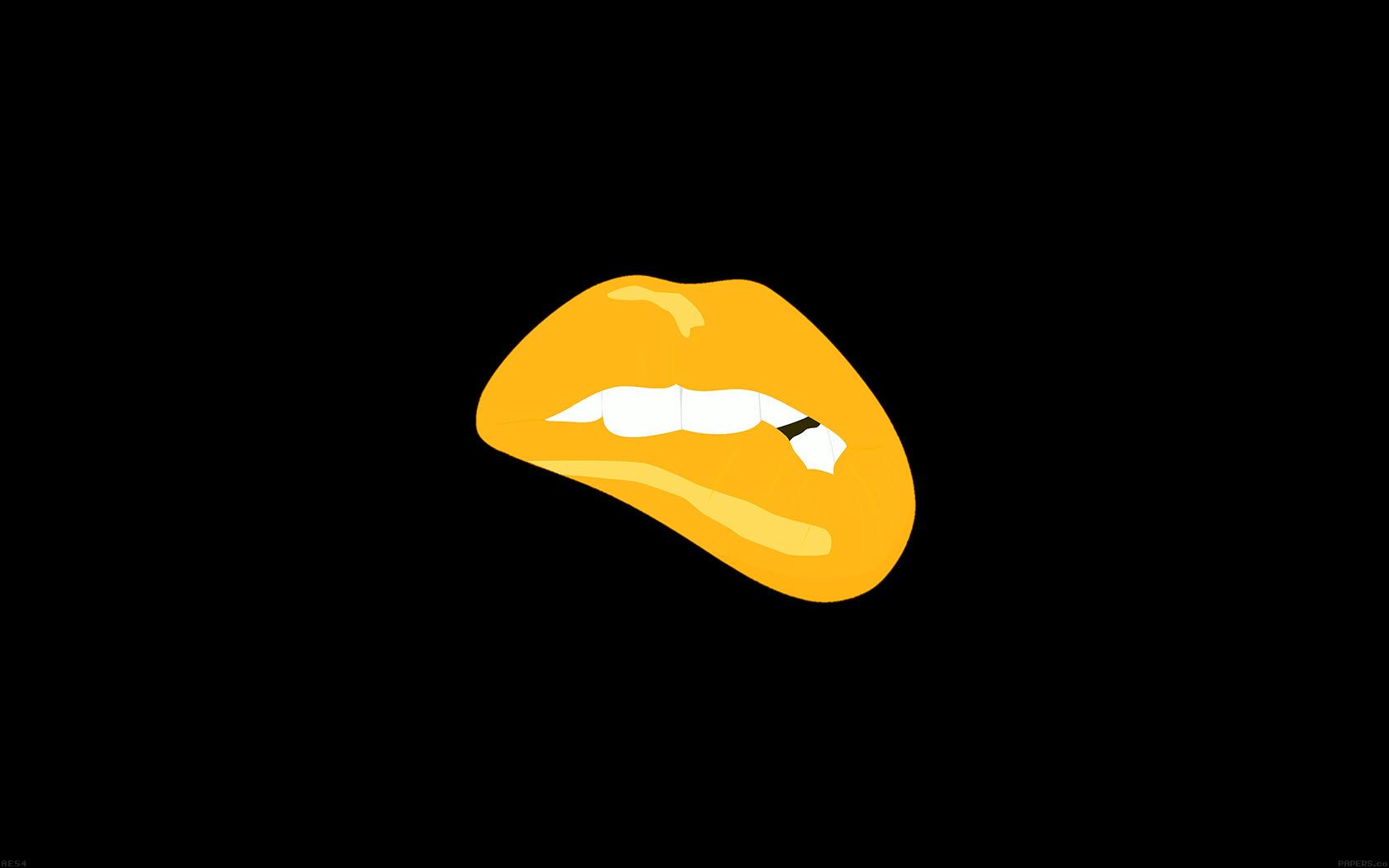 Ae54 Biting Lips Gold Black Background Minimal Art Wallpaper