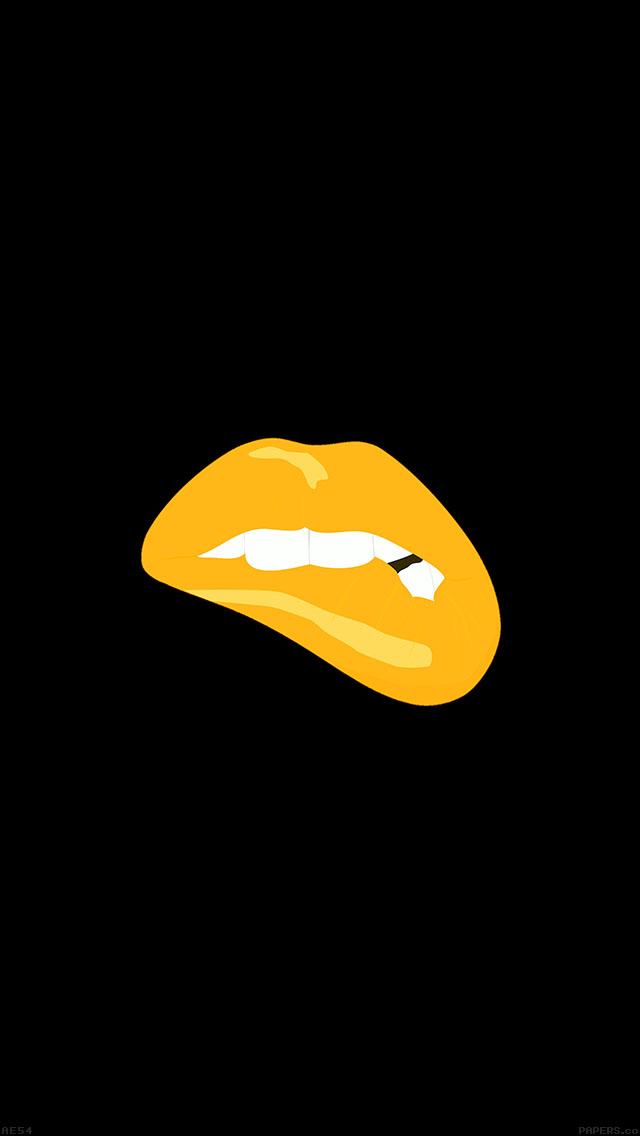 freeios8.com-iphone-4-5-6-plus-ipad-ios8-ae54-biting-lips-gold-black-background-minimal-art