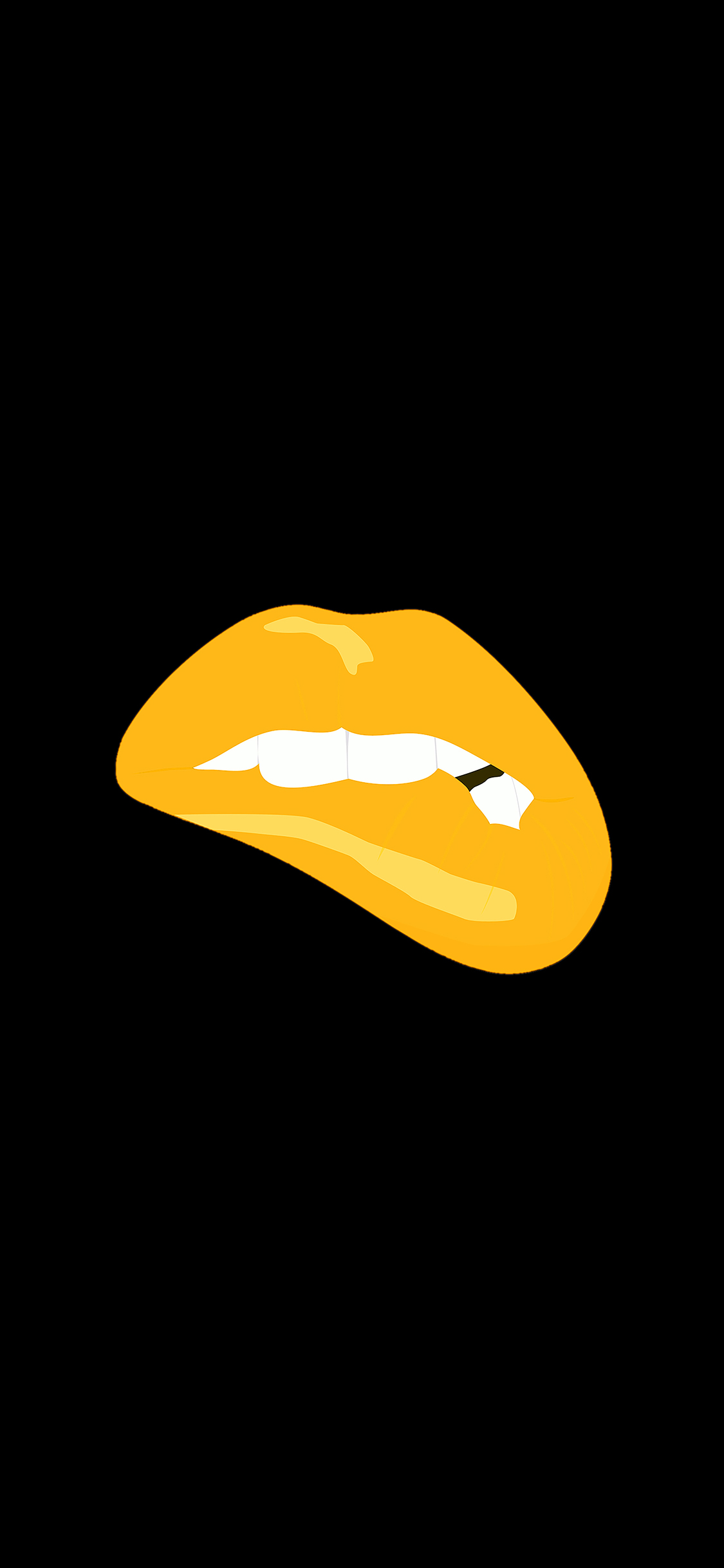Ae54 Biting Lips Gold Black Background Minimal Art Wallpaper