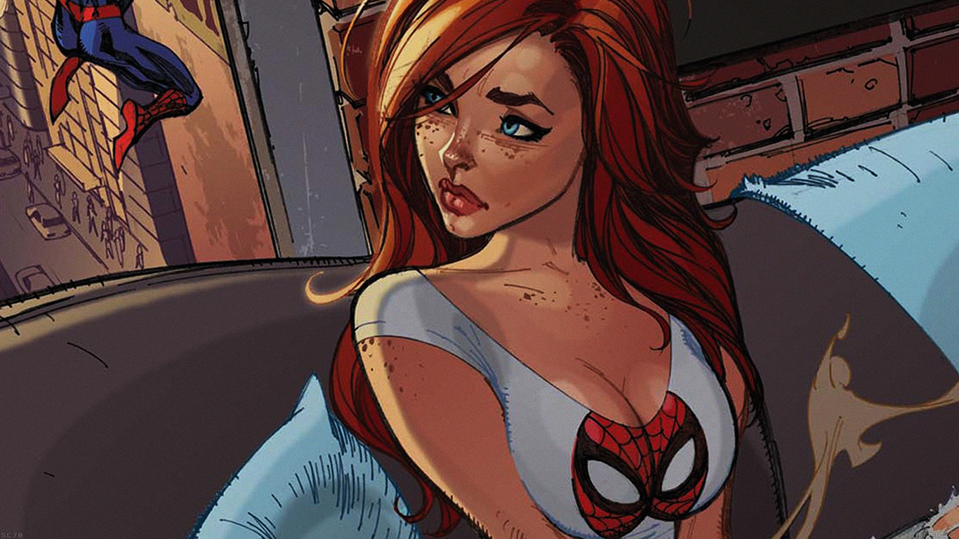 iPapers.co-Apple-iPhone-iPad-Macbook-iMac-wallpaper-af39-spiderman-mary-jane-angry-illustration-cartoon-wallpaper