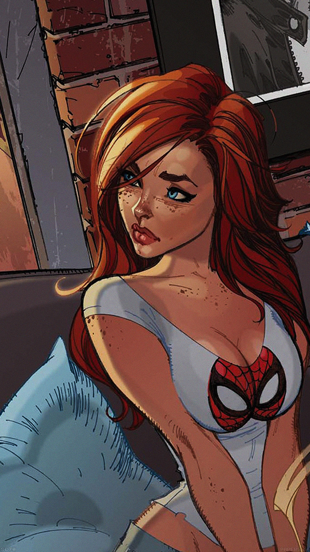 freeios8.com-iphone-4-5-6-plus-ipad-ios8-af39-spiderman-mary-jane-angry-illustration-cartoon