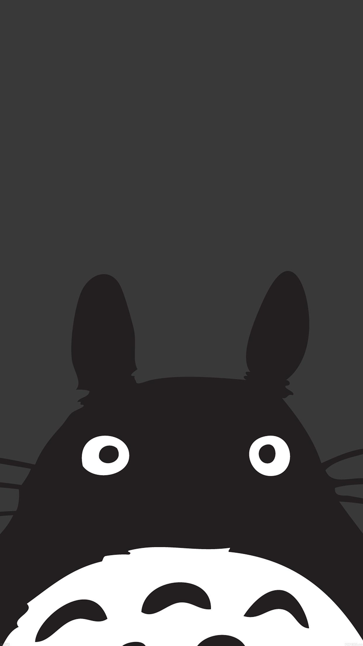 Papers Co Iphone Wallpaper Af44 Totoro Minimal Art
