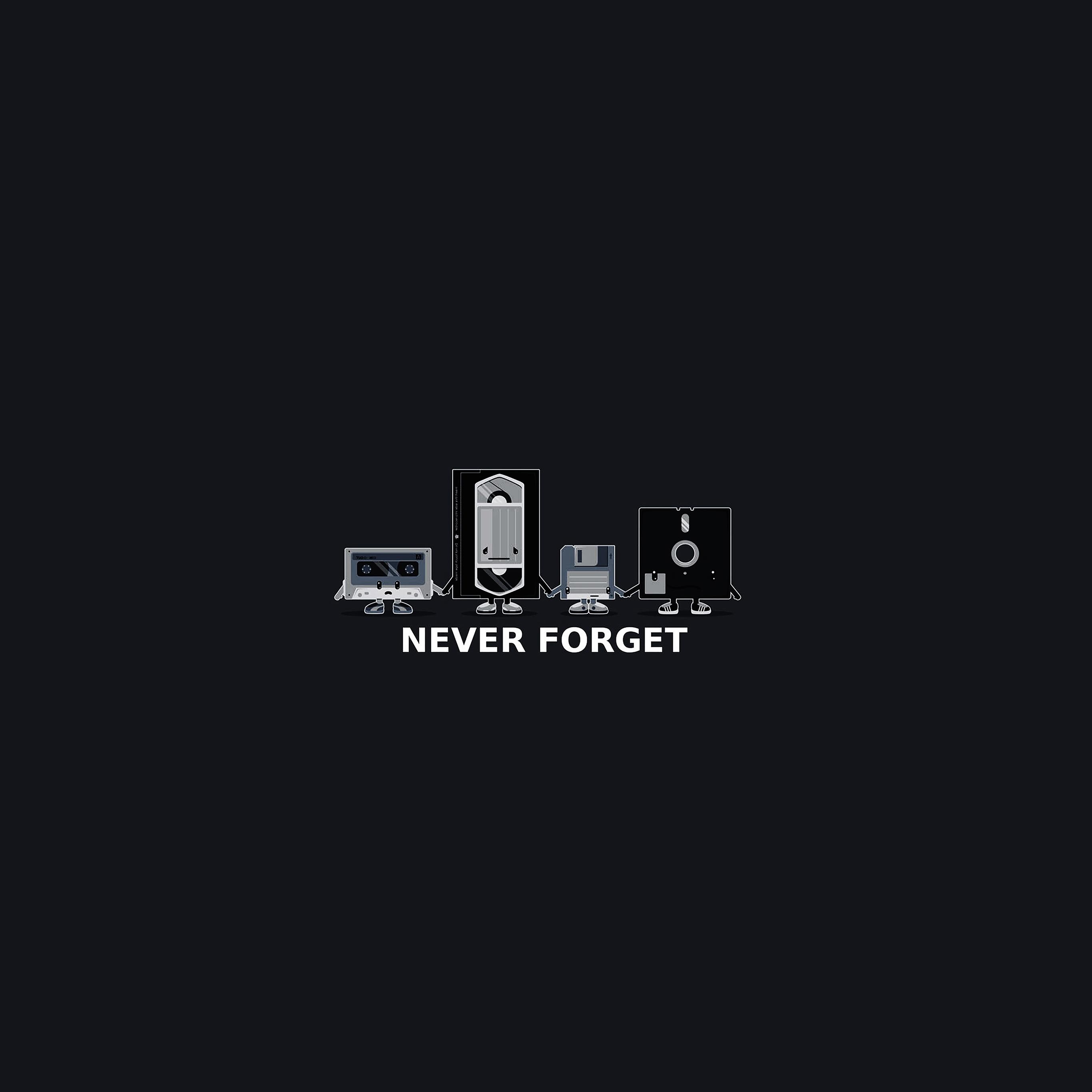 Af82 Never Forget Floppy History Dark Cute Illust Wallpaper