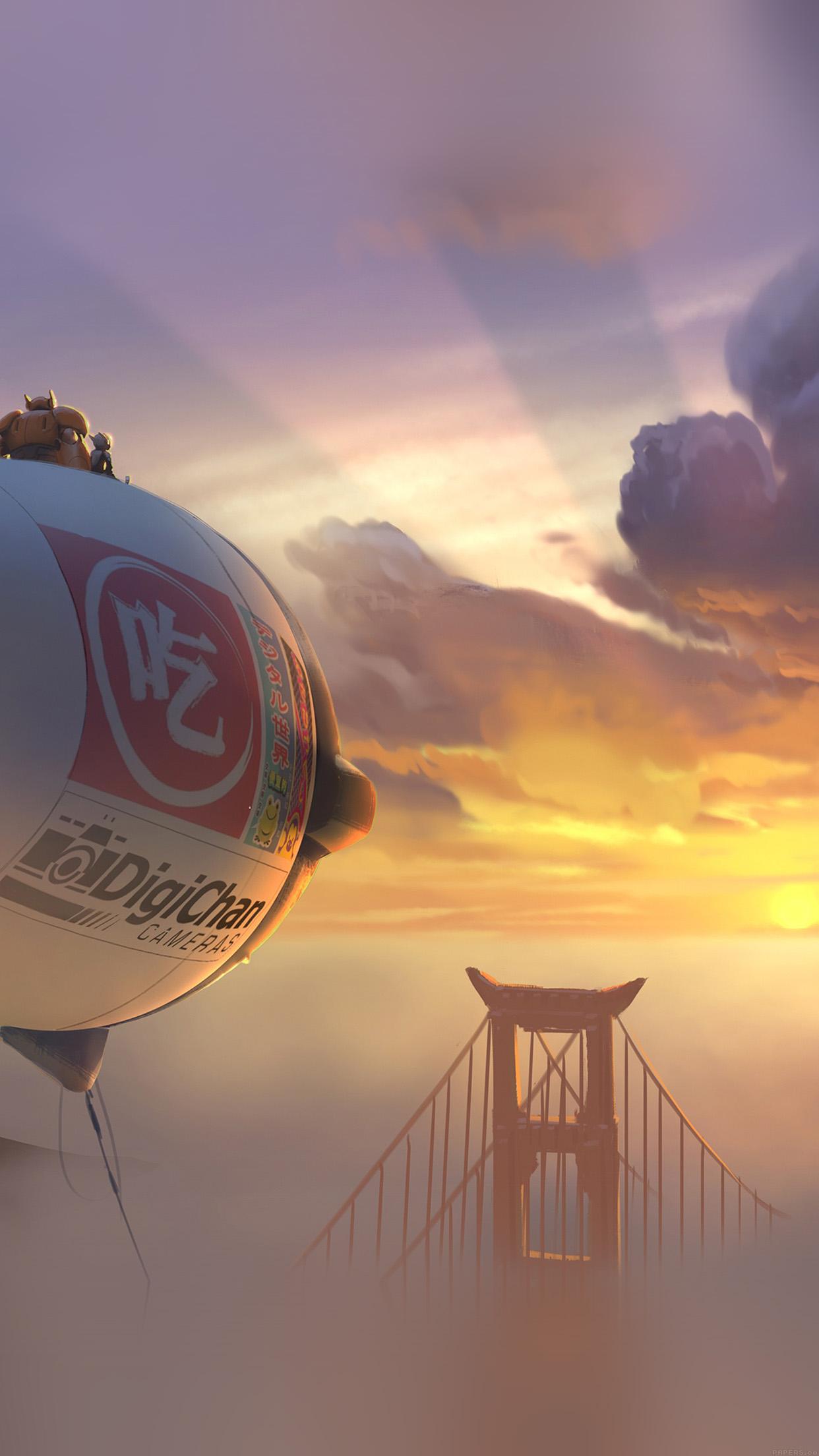 Papers Co Iphone Wallpaper Af88 Big Hero 6 Fly Air Disney Art Illust