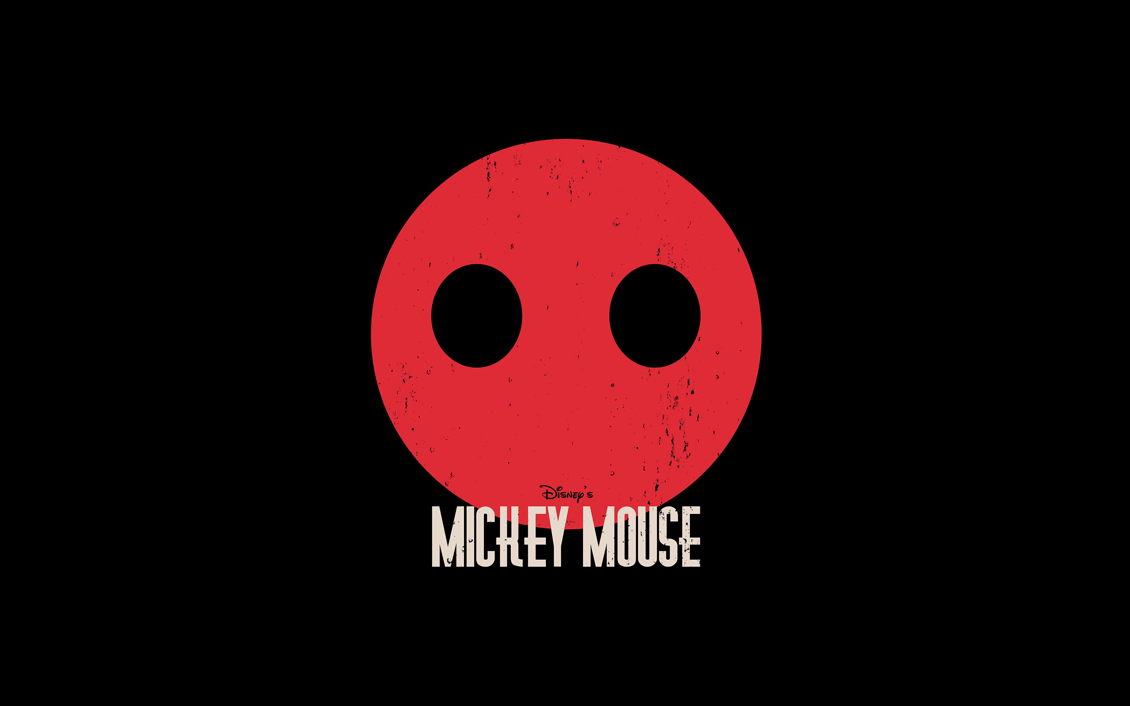 papers.co ag22 mickey mouse dark minimal circle disney art 36 3840x2400 4k wallpaper