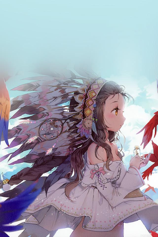 Ag39-indian-girl-anime-birds-illust-art