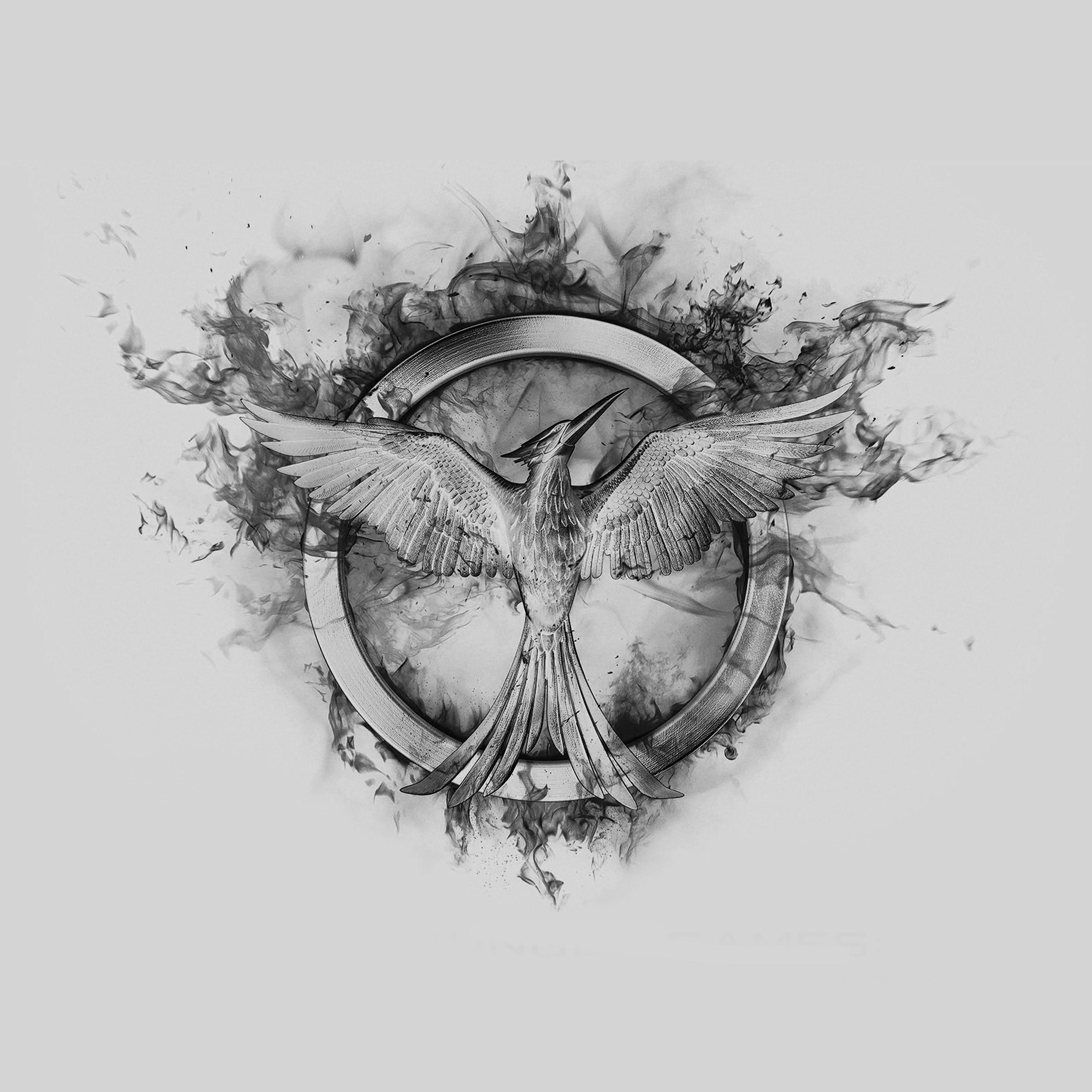 Ag76 Hunger Games Mockingjay Black Logo Art Wallpaper