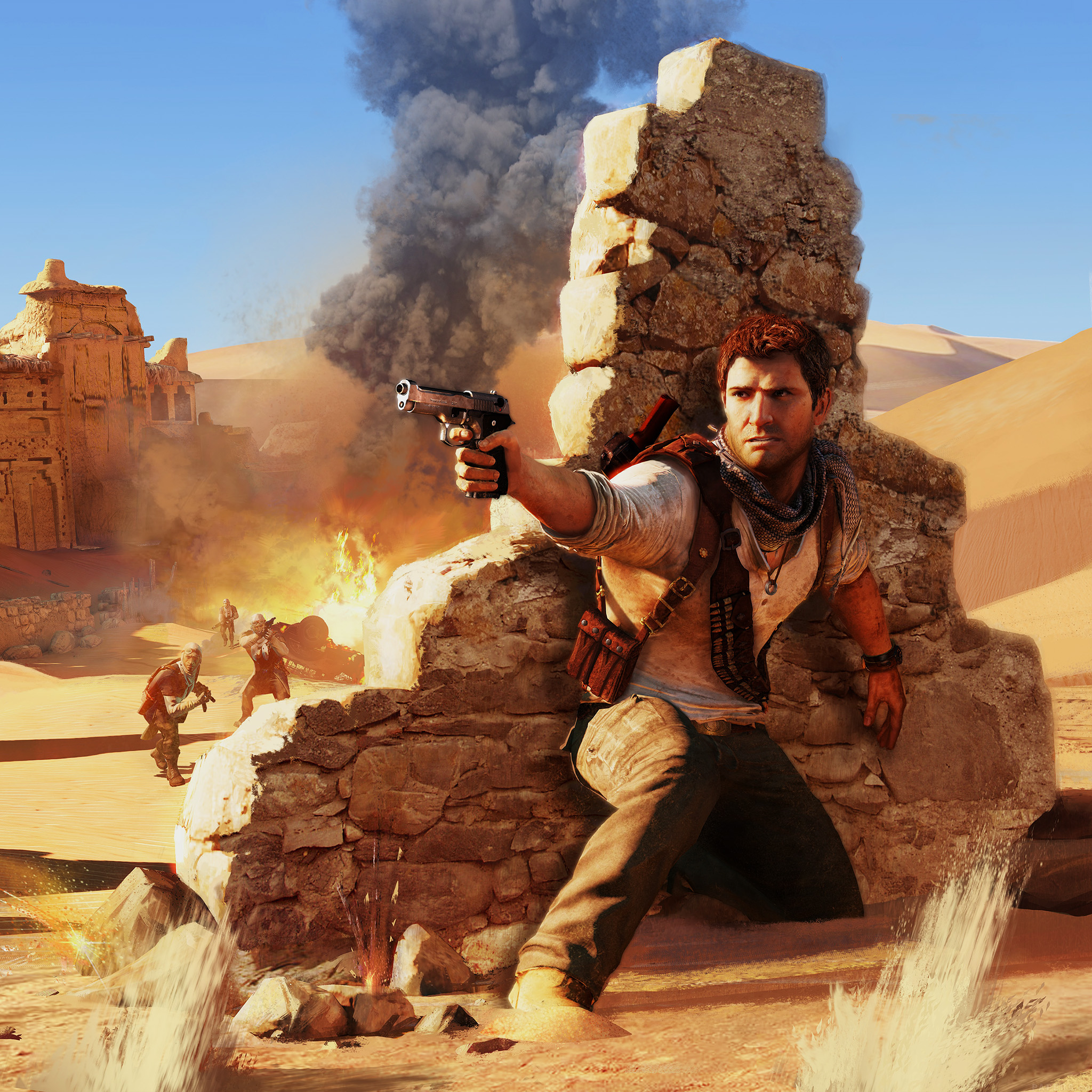 Uncharted Wallpaper: Ah09-drake-under-fire-uncharted-game - Parallax