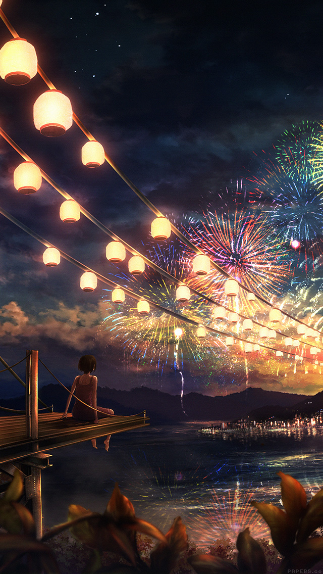 freeios8.com-iphone-4-5-6-plus-ipad-ios8-ah43-firework-girl-dark-night-anime-art-illust