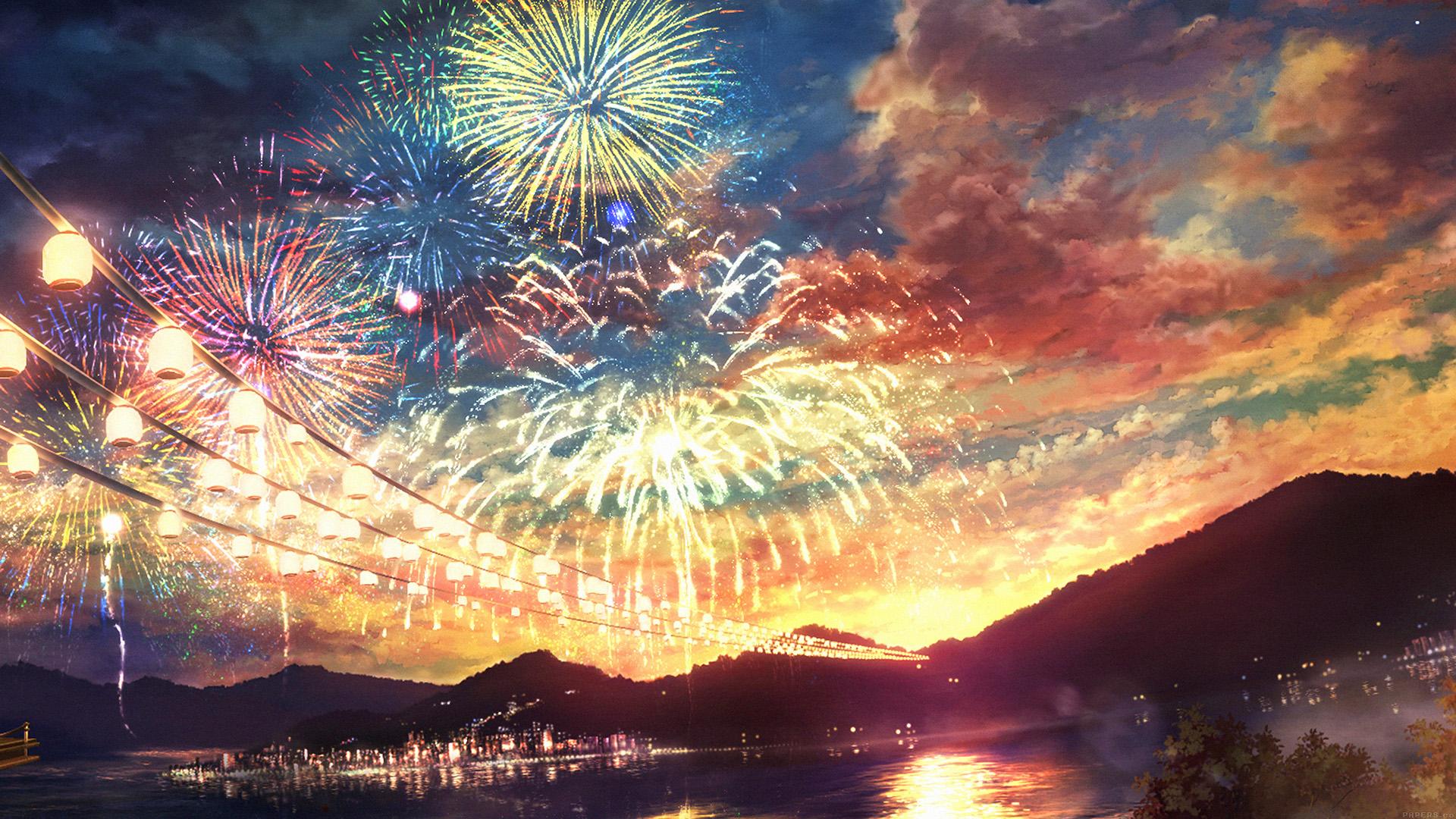 Wallpaper for desktop laptop ah44 firework dark night - Anime scenery wallpaper laptop ...