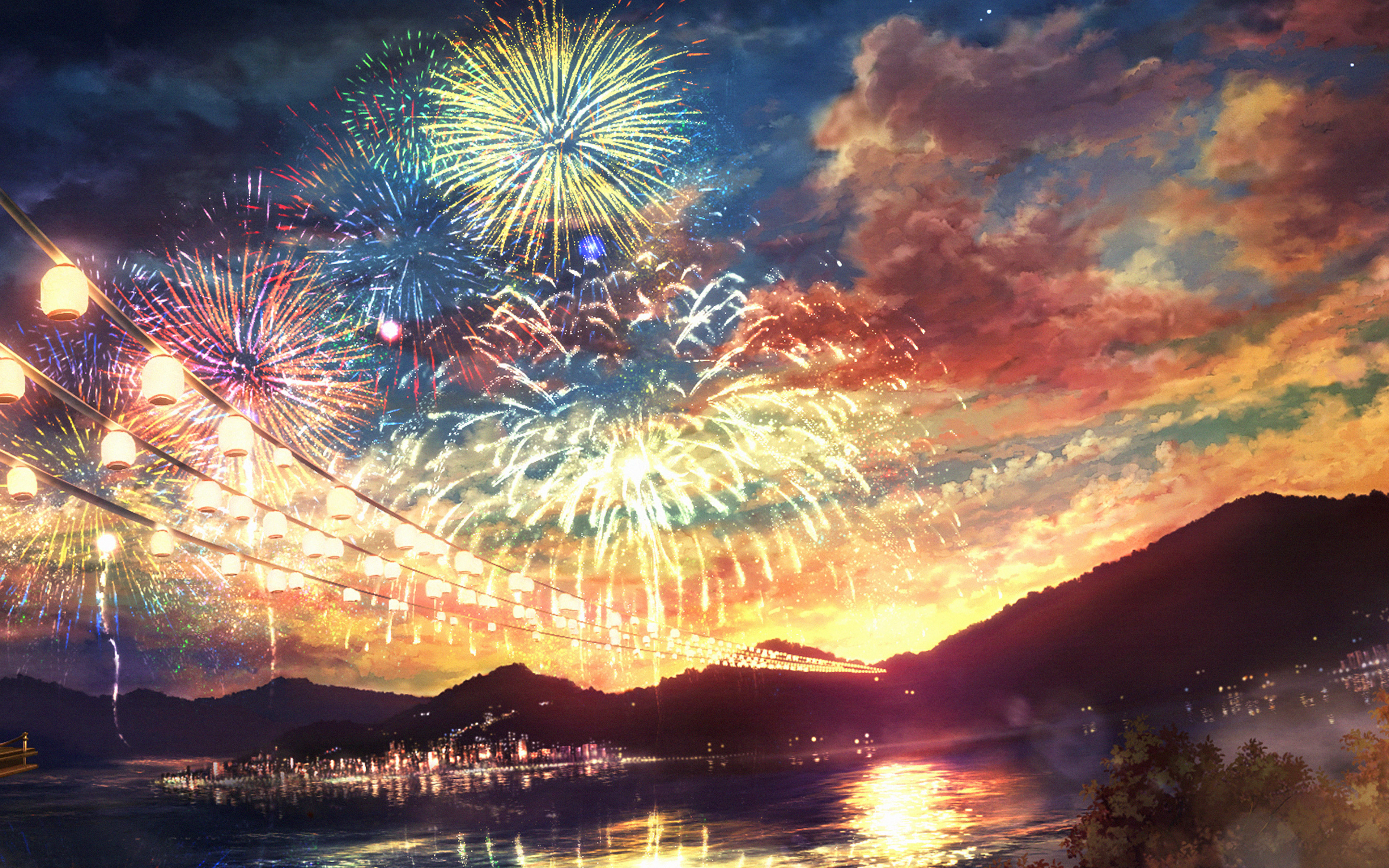 Ah44 Firework Dark Night Anime Art Illust Wallpaper