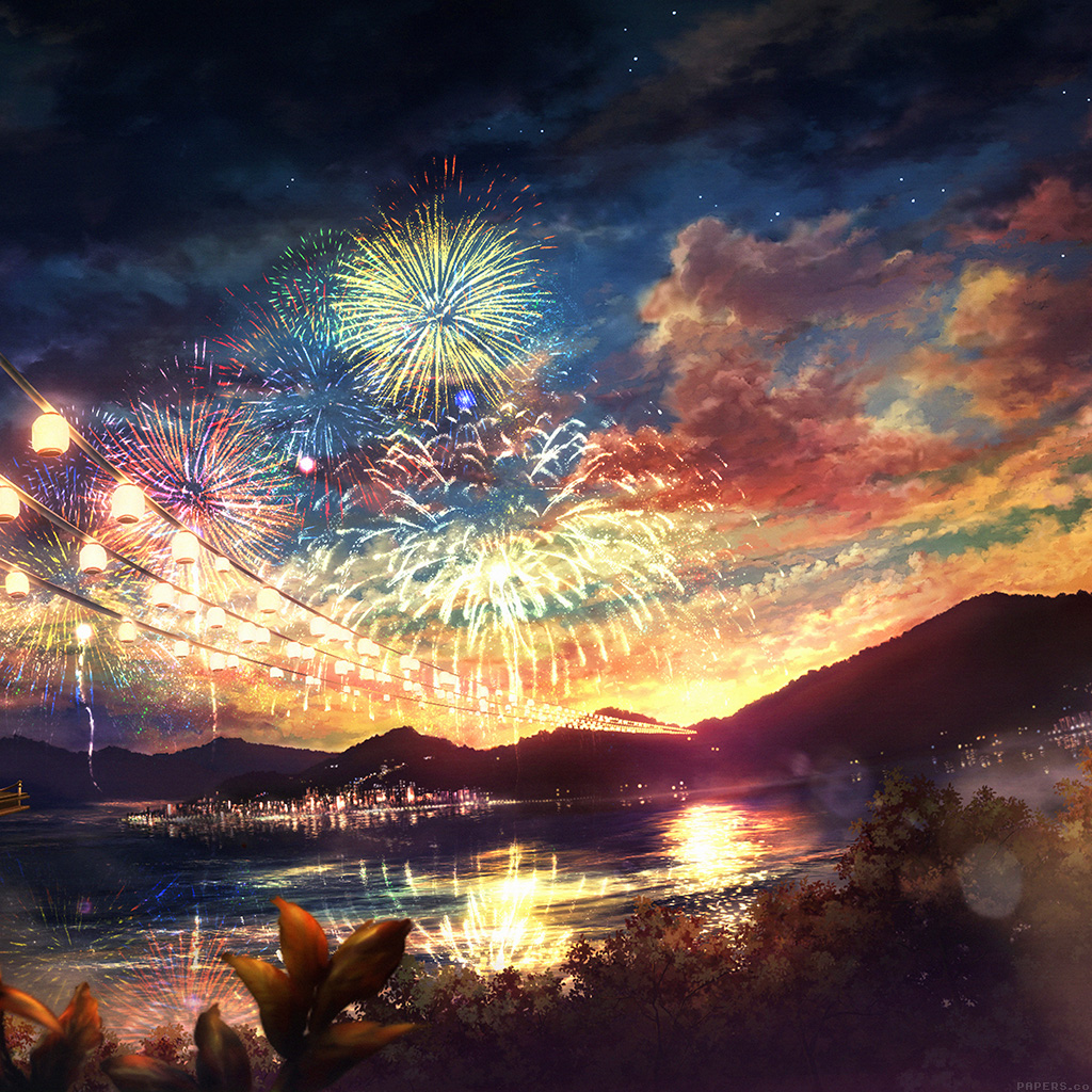 Samsung Wallpaper: Ah44-firework-dark-night-anime-art-illust-wallpaper