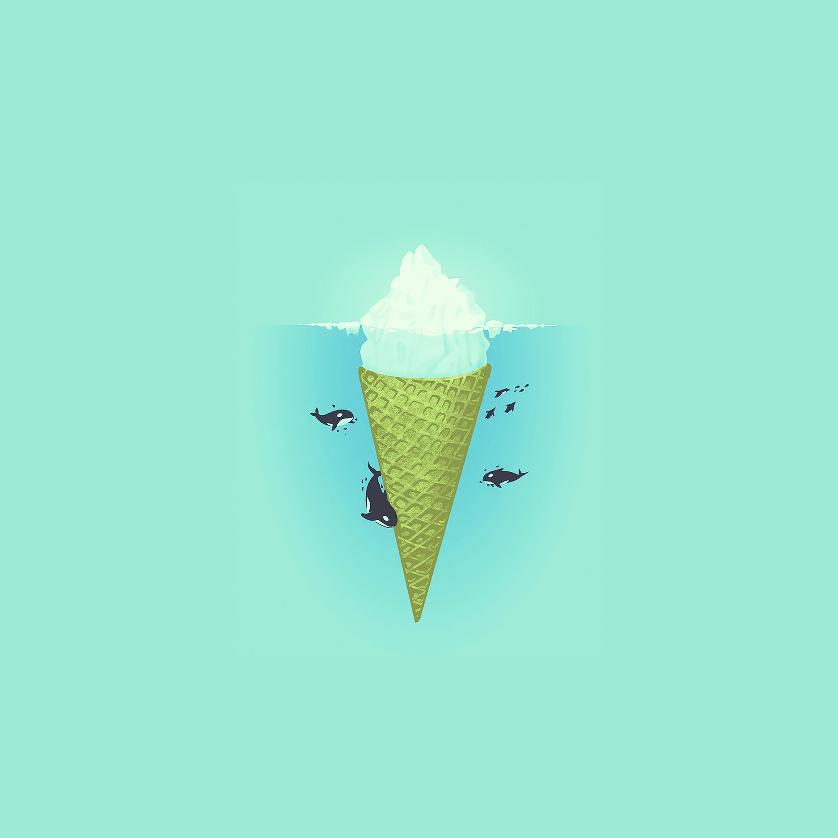 Ice Cream Wallpaper Hd: Ah80-whale-illust-green-sea-icecream-iceberg
