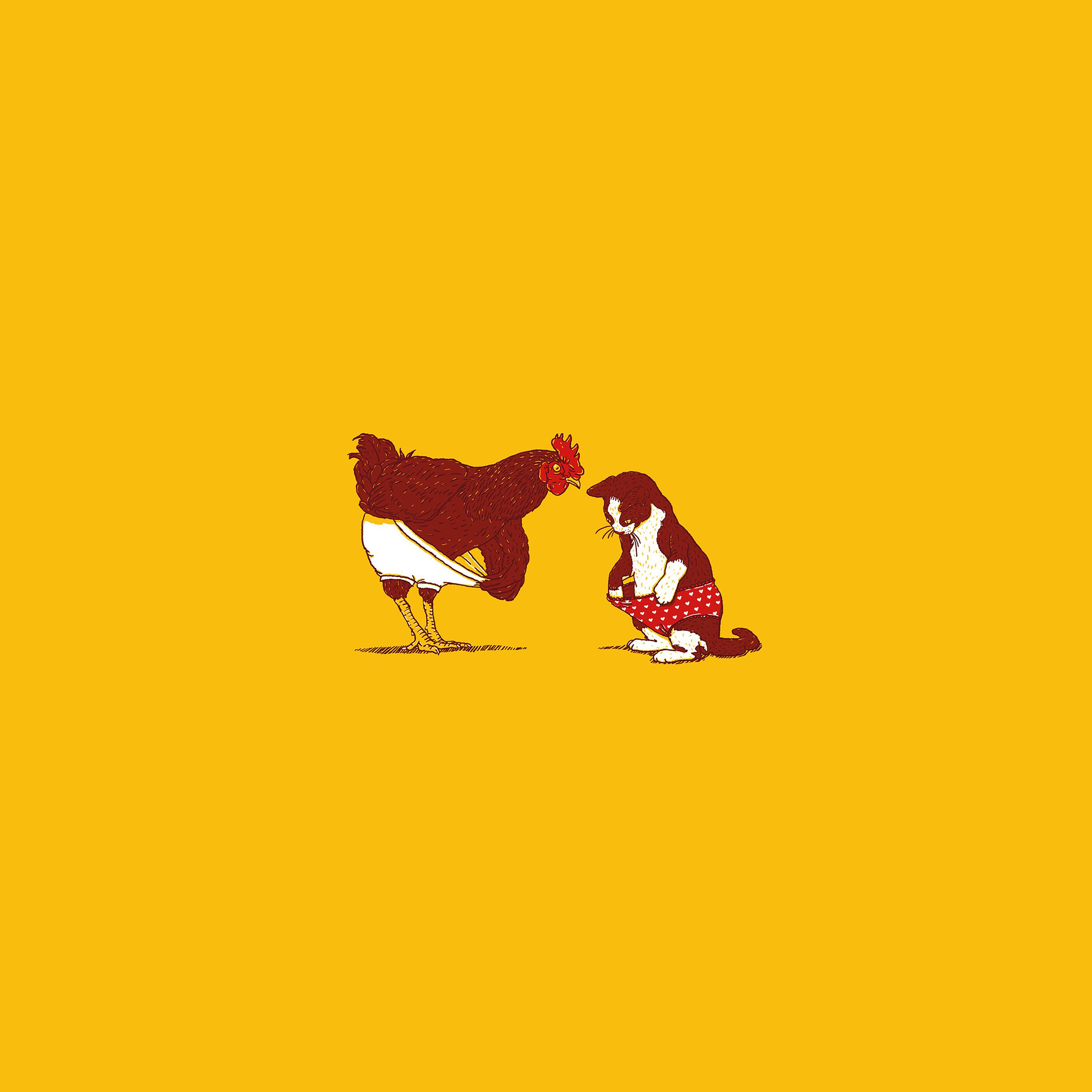 Ah82 Cat Chicken Underwear Cute Illust Art