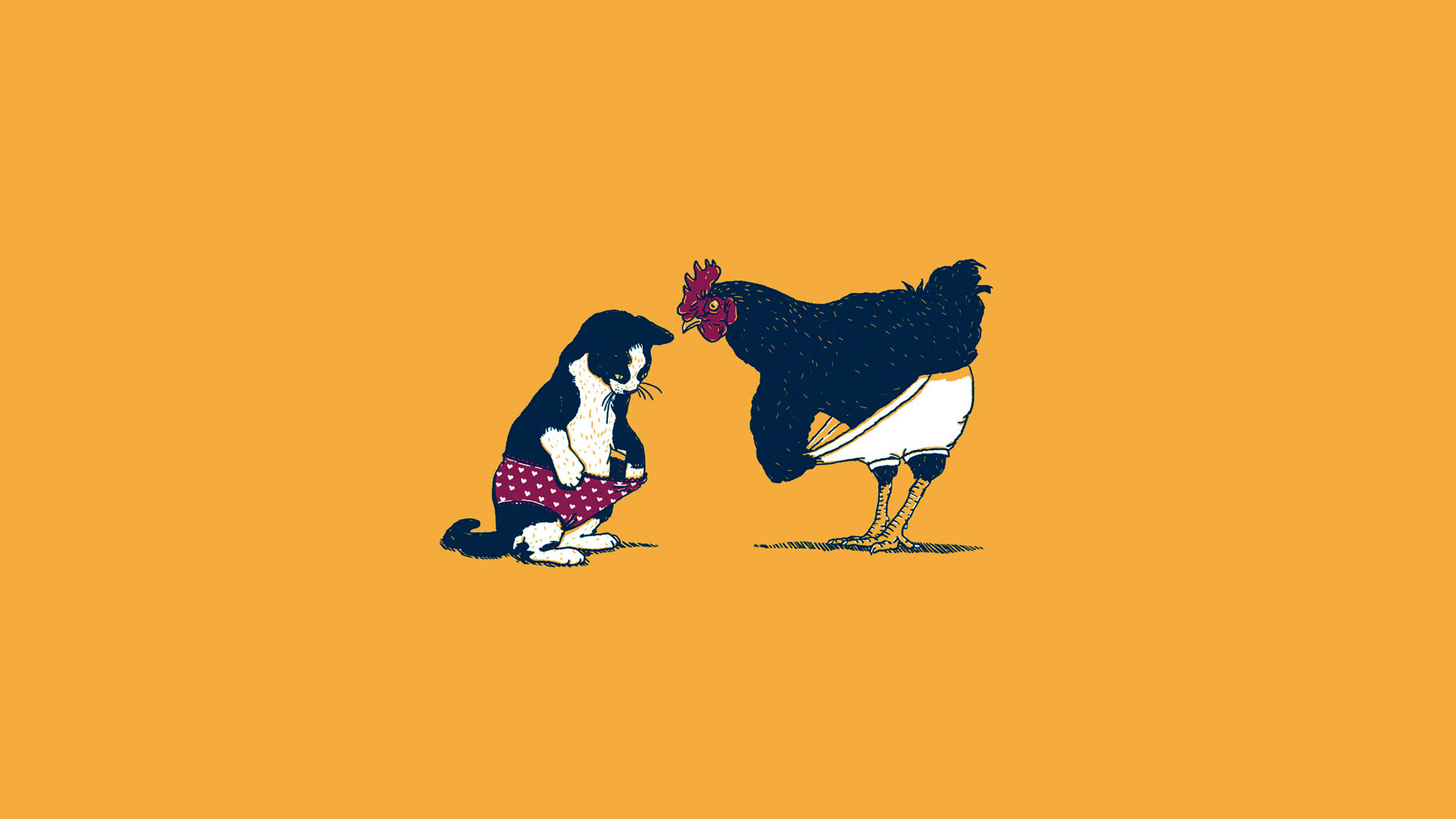 Ah83 Cat Chicken Yellow Underwear Cute Illust Art Wallpaper