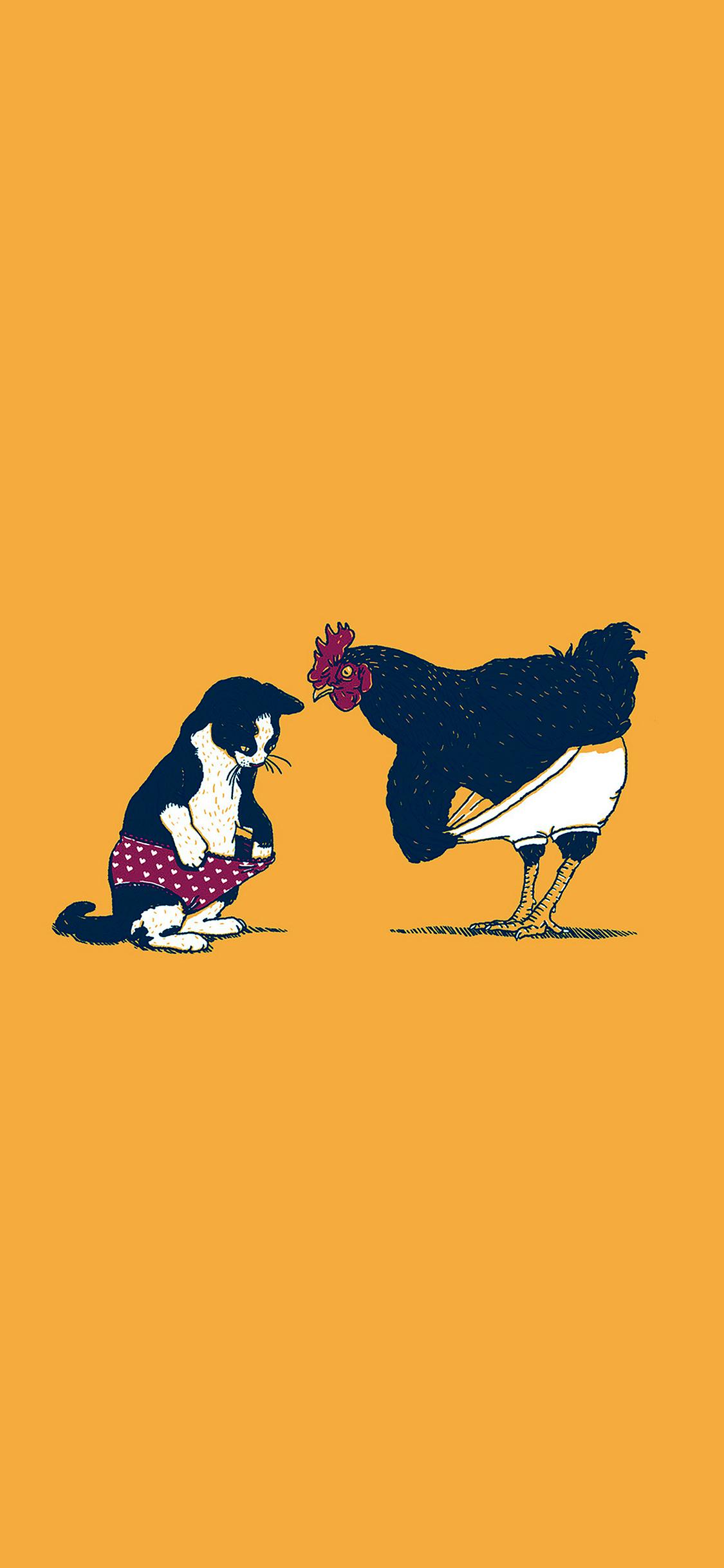 iPhoneXpapers.com-Apple-iPhone-wallpaper-ah83-cat-chicken-yellow-underwear-cute-illust-art