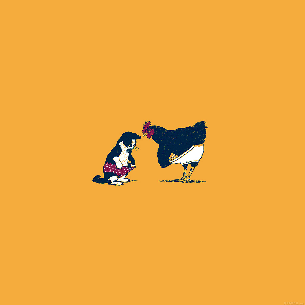 wallpaper-ah83-cat-chicken-yellow-underwear-cute-illust-art-wallpaper