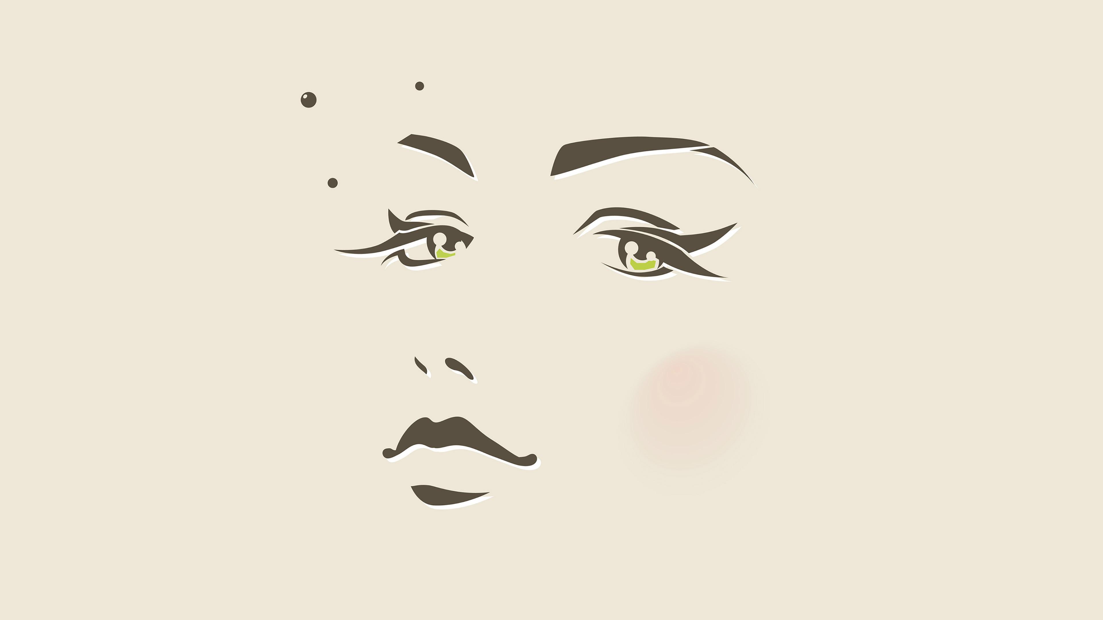 Ah97 girl face illust art minimal wallpaper for Minimal art face