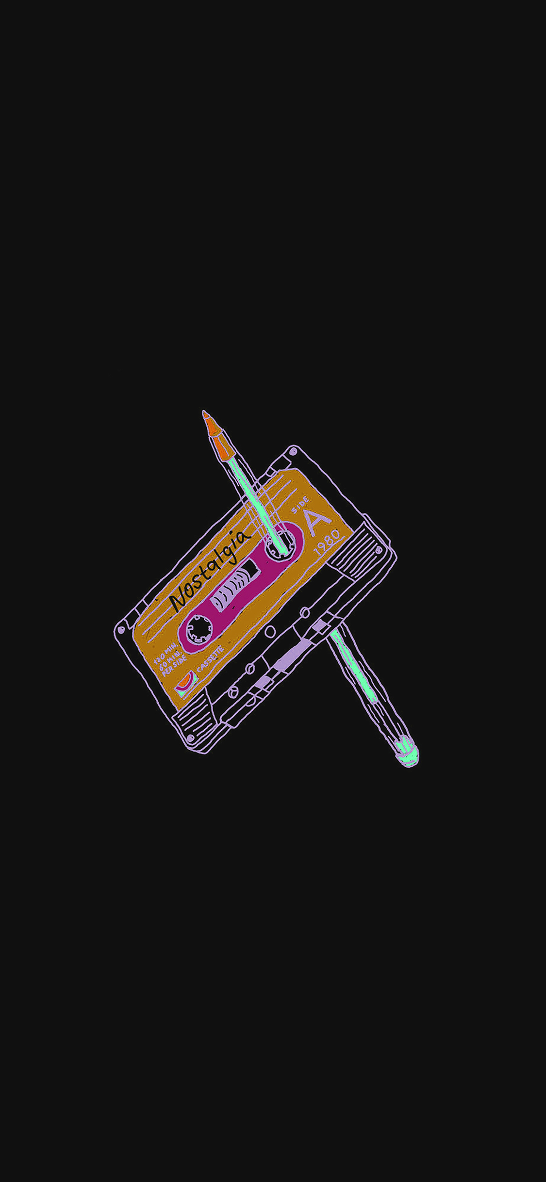 iPhonexpapers.com-Apple-iPhone-wallpaper-ah99-cassette-tape-old-illust-minimal-dark