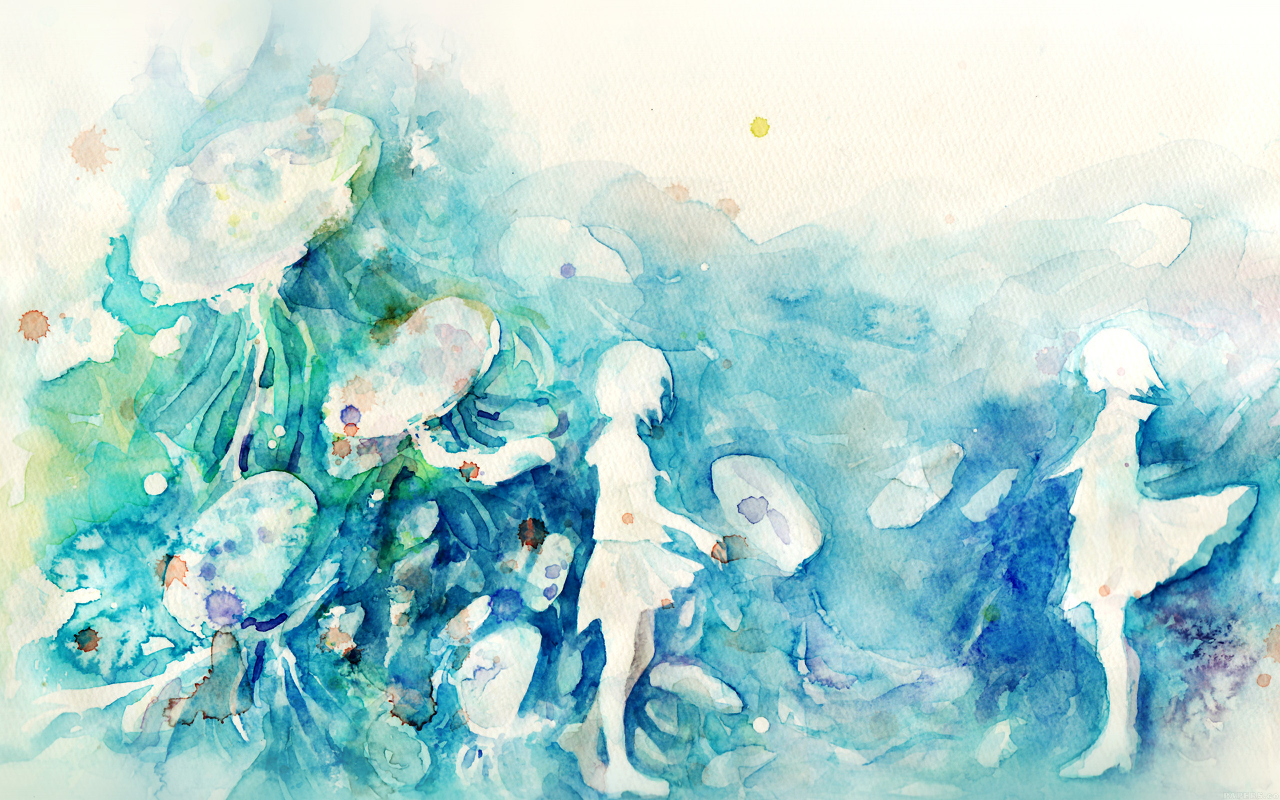 ai06-watercolor-blue-girl-nature-art-illust - Papers.co