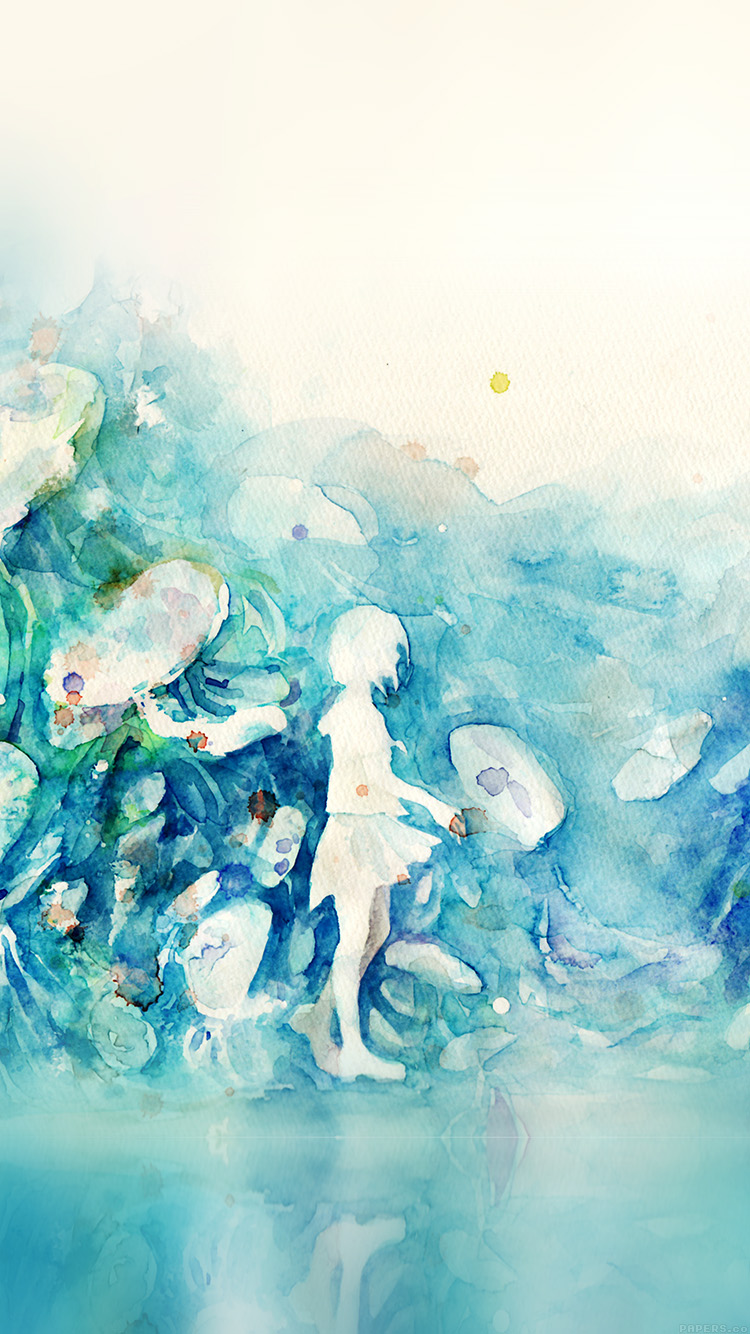 iPhone6papers.co-Apple-iPhone-6-iphone6-plus-wallpaper-ai06-watercolor-blue-girl-nature-art-illust