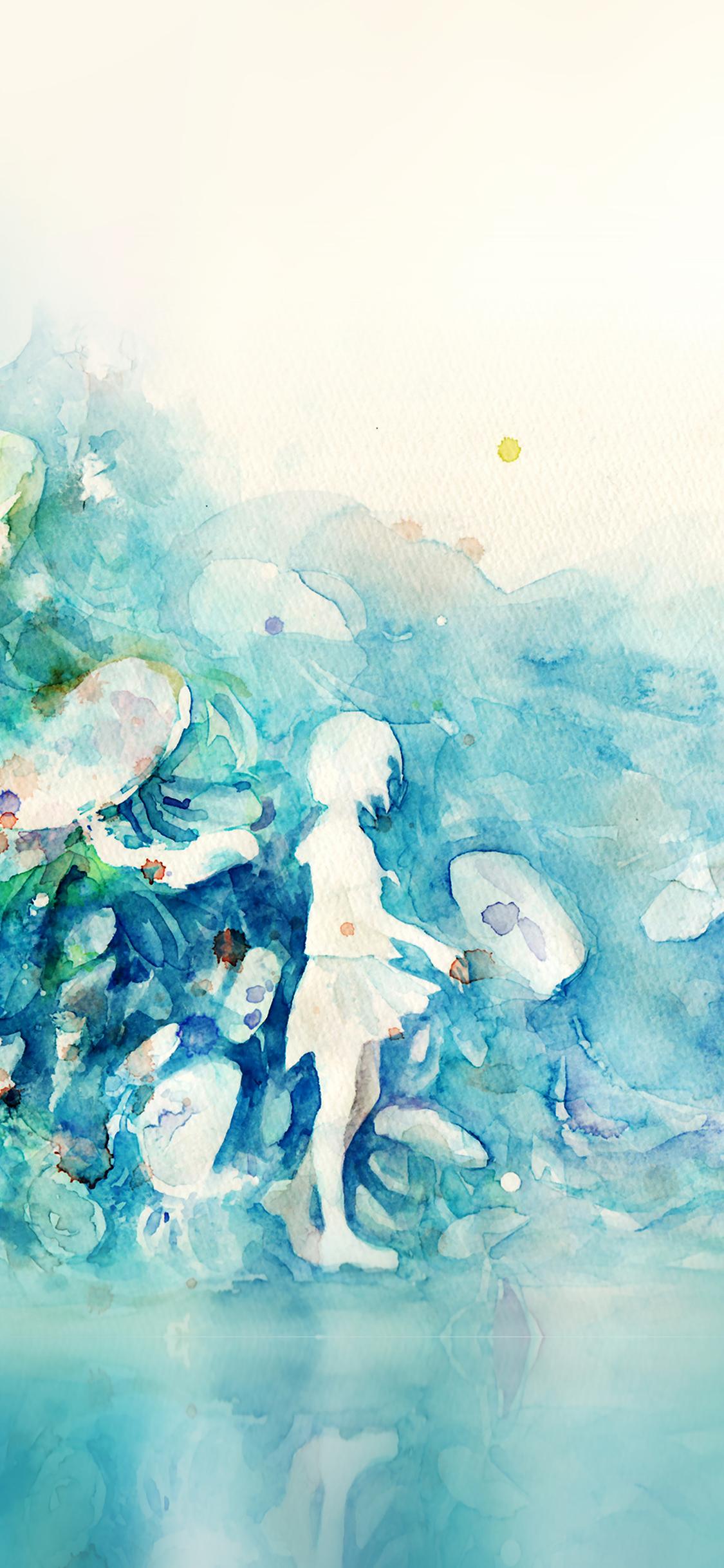 iPhoneXpapers.com-Apple-iPhone-wallpaper-ai06-watercolor-blue-girl-nature-art-illust