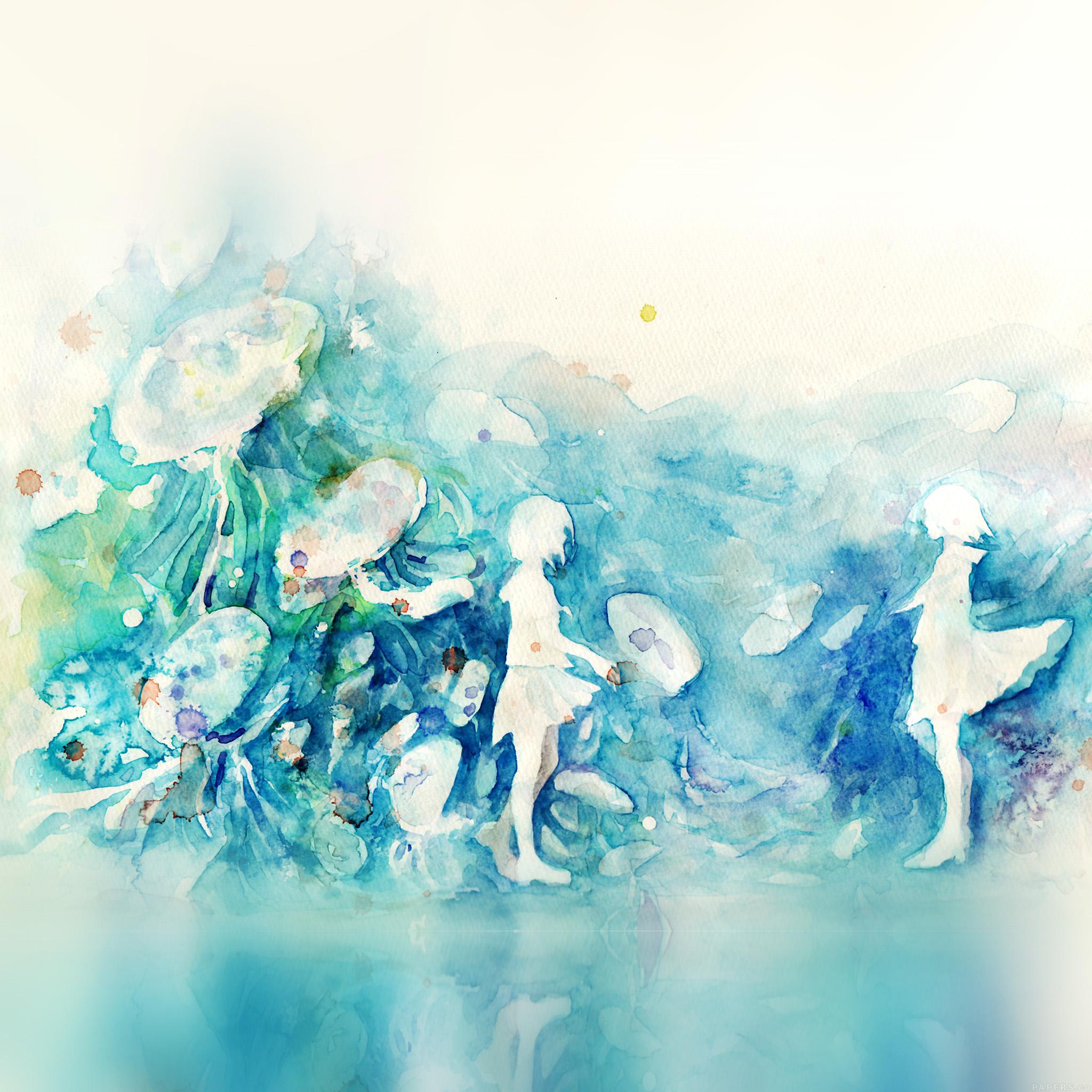Ai06 Watercolor Blue Girl Nature Art Illust