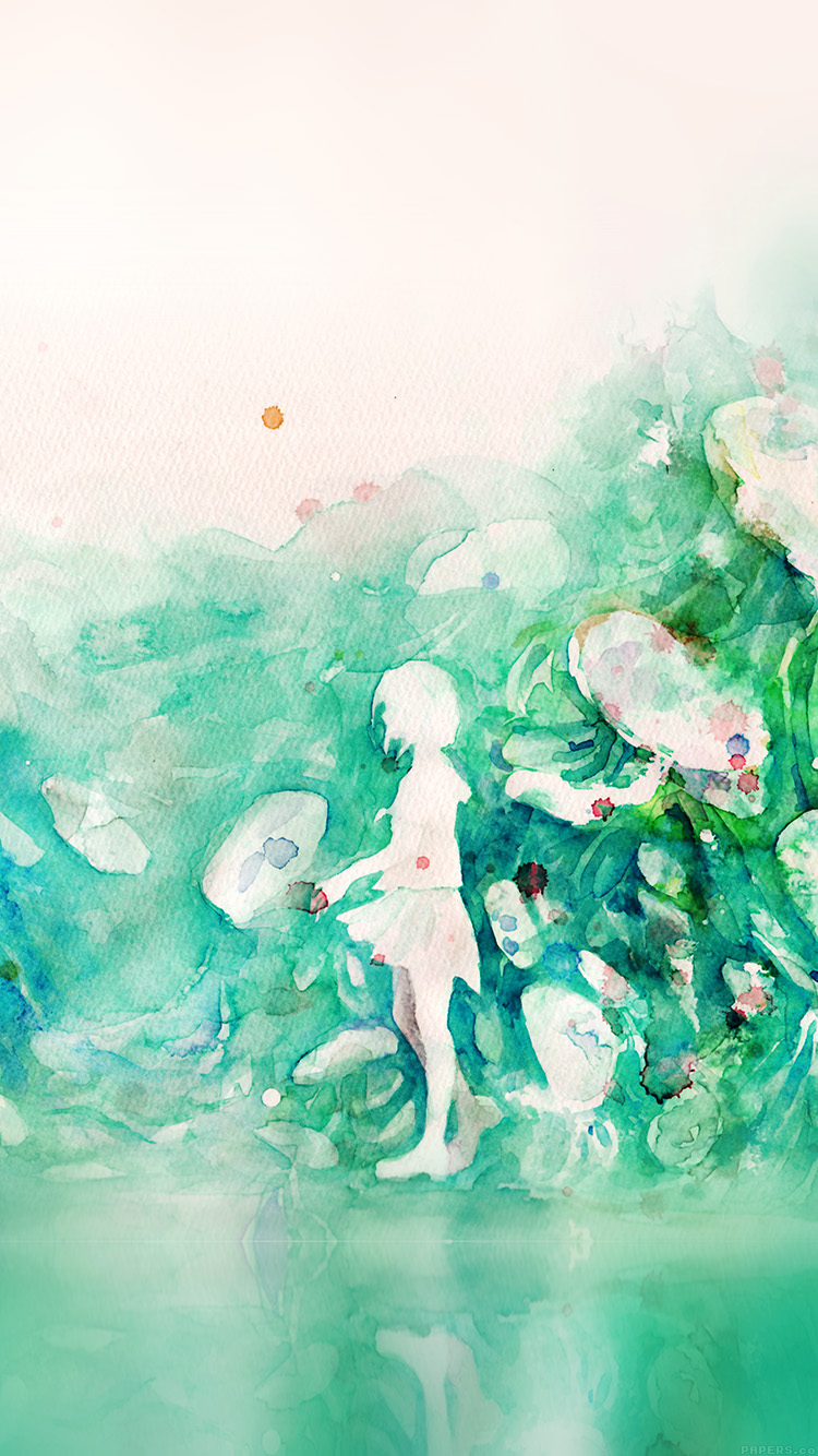 Papers.co-iPhone5-iphone6-plus-wallpaper-ai07-watercolor-green-girl-nature-art-illust