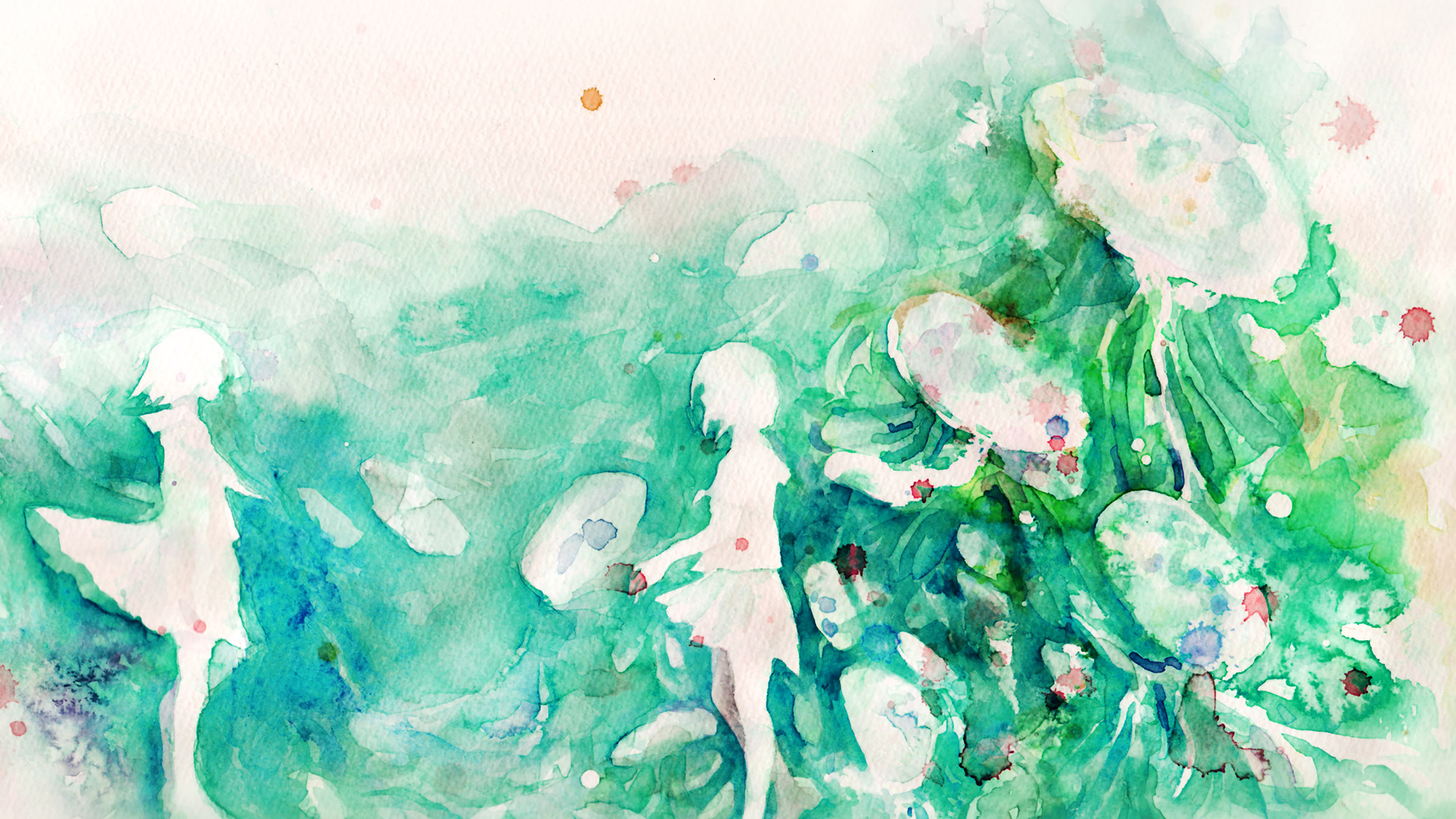 Ai07 Watercolor Green Girl Nature Art Illust Wallpaper