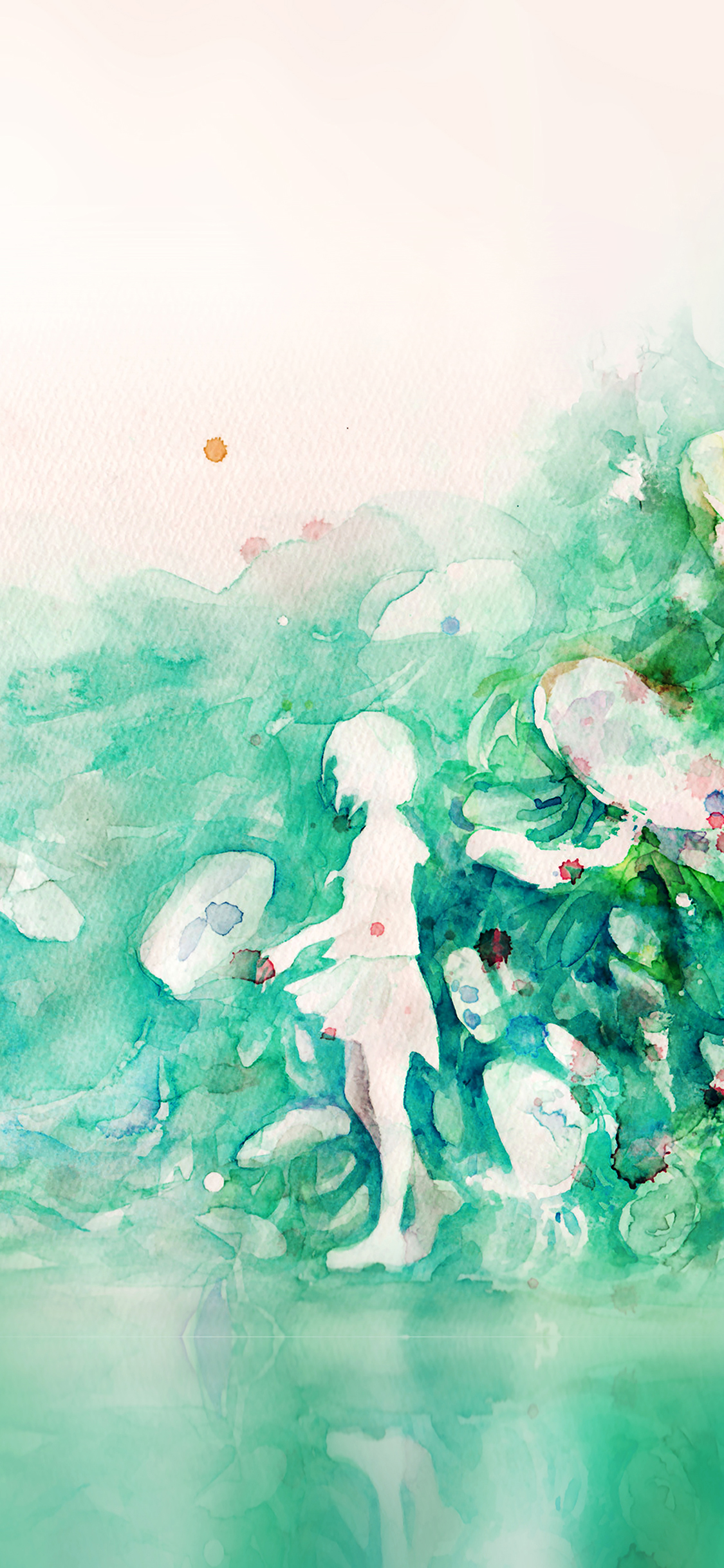 iPhoneXpapers.com-Apple-iPhone-wallpaper-ai07-watercolor-green-girl-nature-art-illust