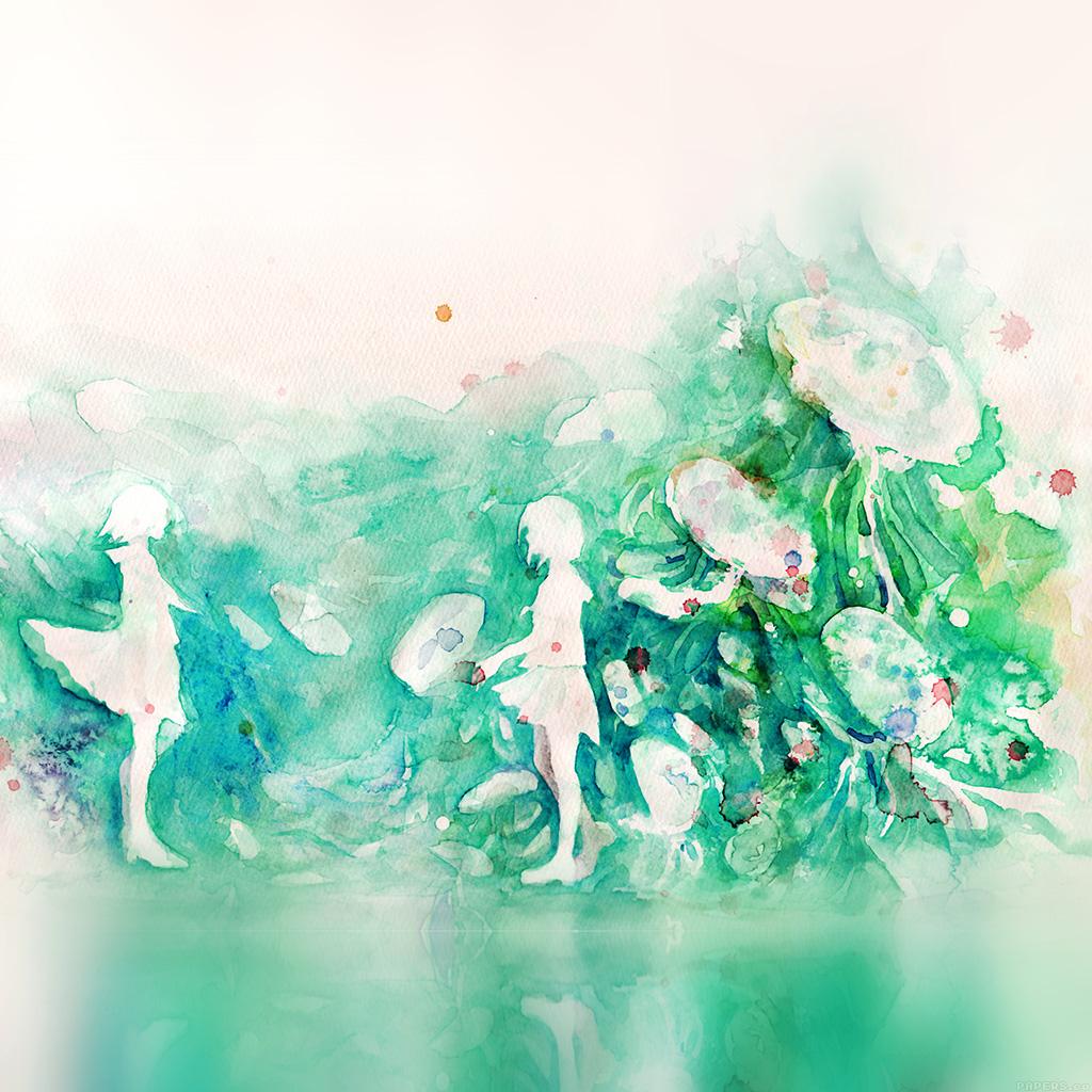 wallpaper-ai07-watercolor-green-girl-nature-art-illust-wallpaper