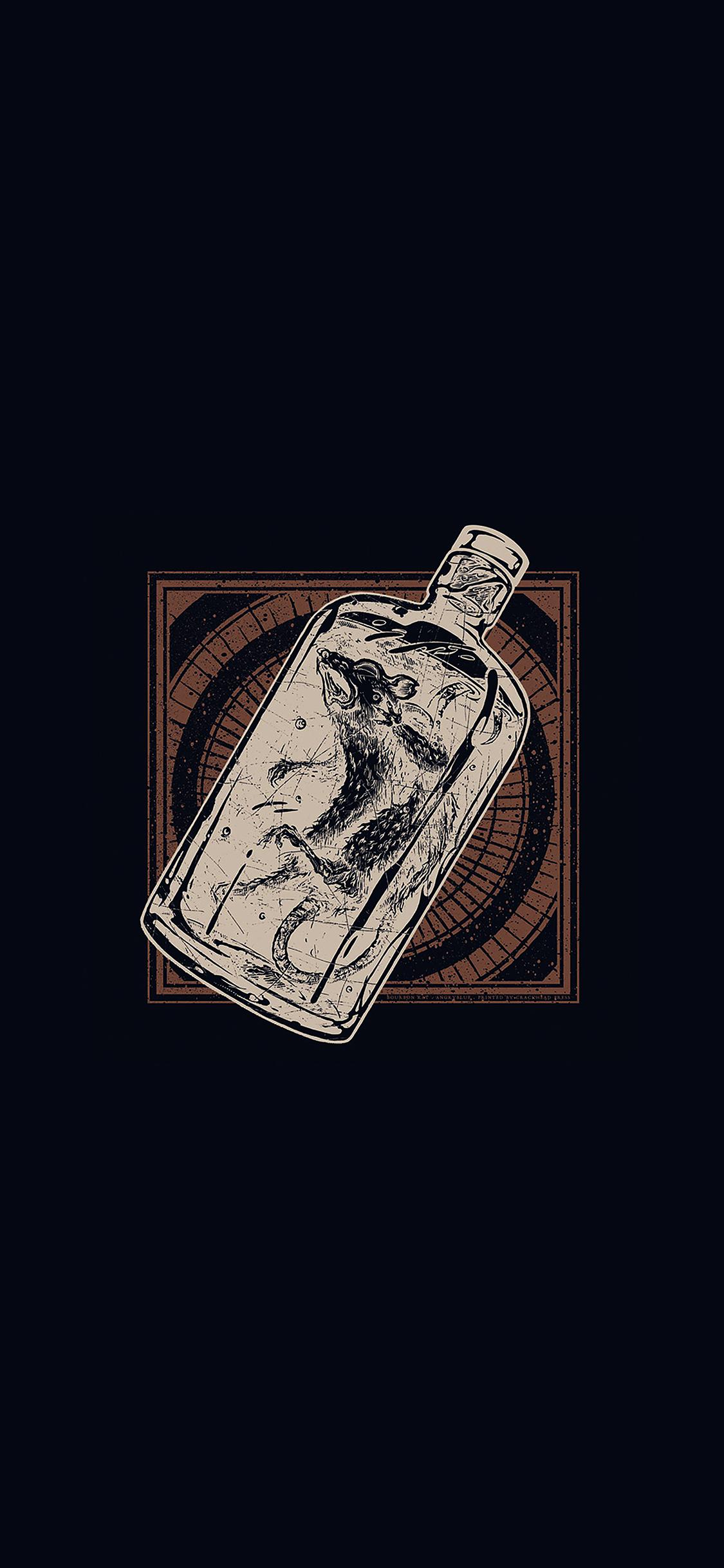 iPhoneXpapers.com-Apple-iPhone-wallpaper-ai20-rat-in-bottle-art-dark-illust-cute-minimal