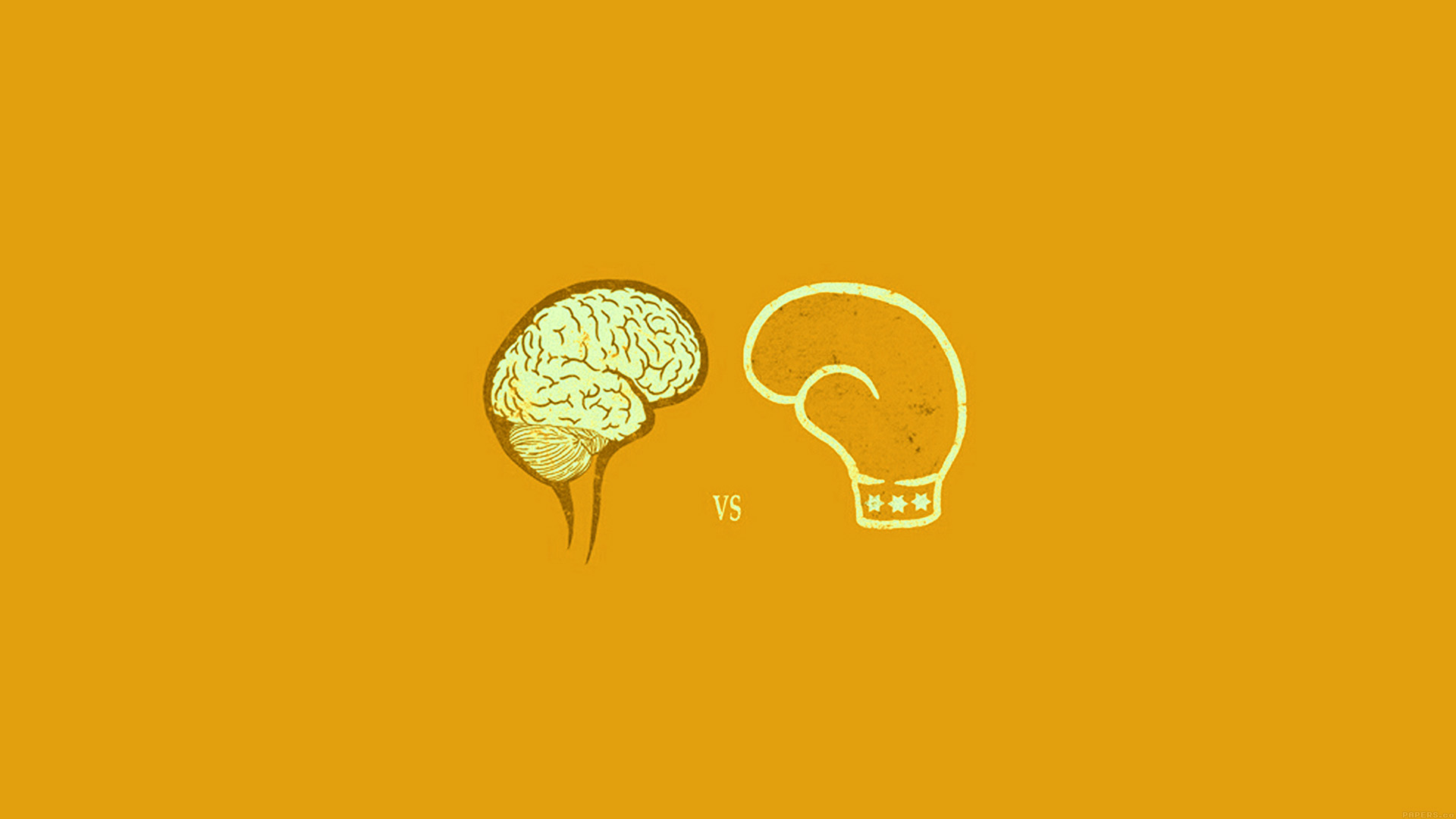 Ai23 Brain Vs Boxing Illust Gold Minimal Art Wallpaper