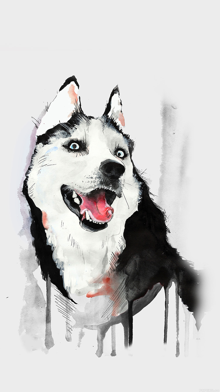 Papers.co-iPhone5-iphone6-plus-wallpaper-ai25-happy-dog-husky-animal-illust-watercolor