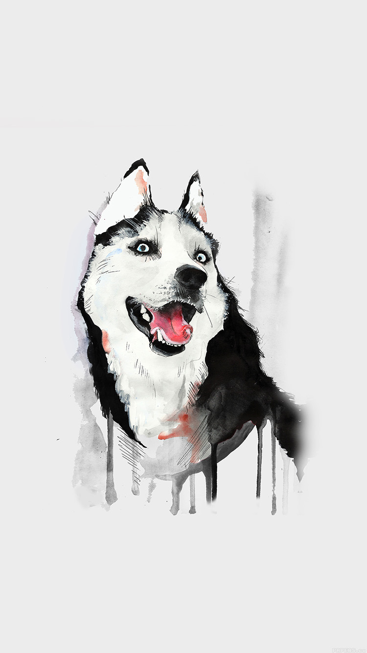 Papers.co-iPhone5-iphone6-plus-wallpaper-ai26-happy-dog-white-husky-animal-illust-watercolor