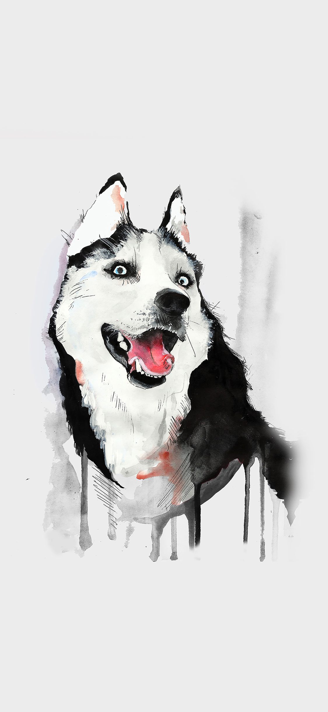 iPhoneXpapers.com-Apple-iPhone-wallpaper-ai26-happy-dog-white-husky-animal-illust-watercolor