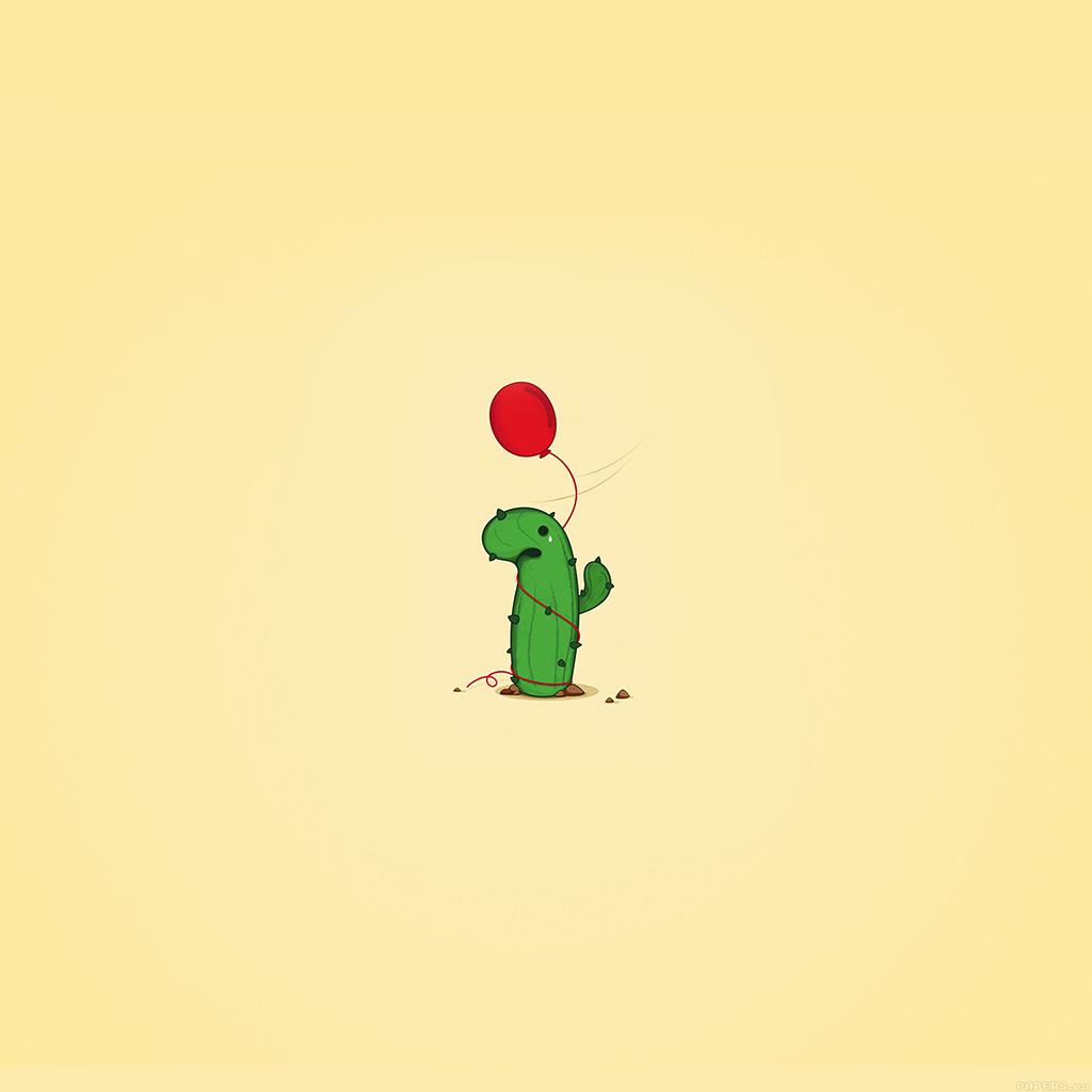 android-wallpaper-ai35-cute-cactus-ballon-illust-art-minimal-wallpaper