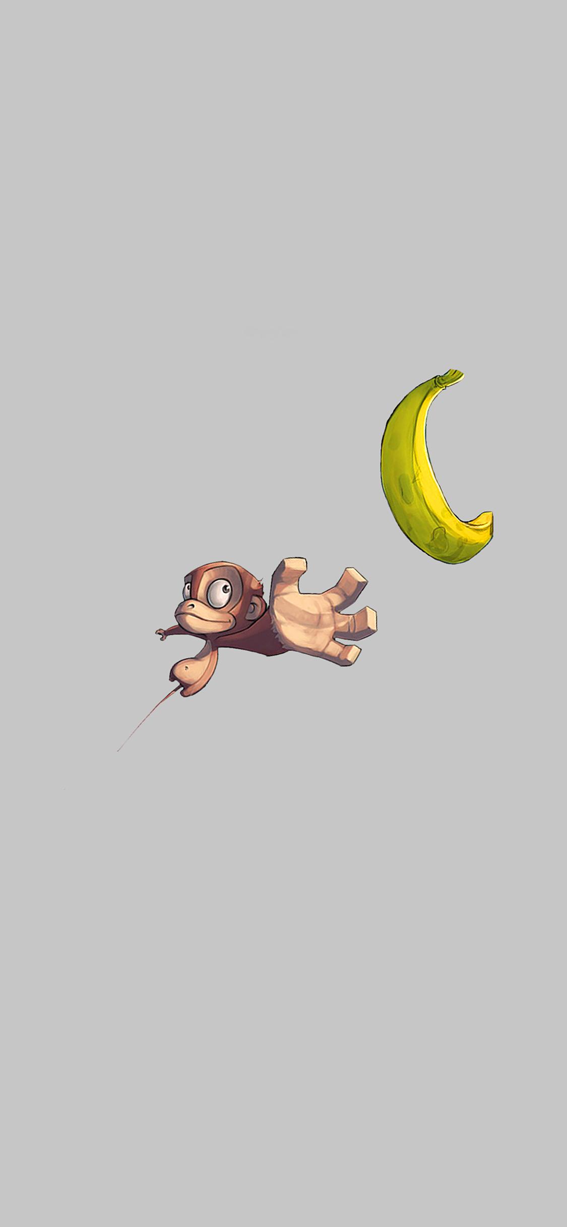 iPhoneXpapers.com-Apple-iPhone-wallpaper-ai41-monkey-banana-love-white-illust-art-minimal