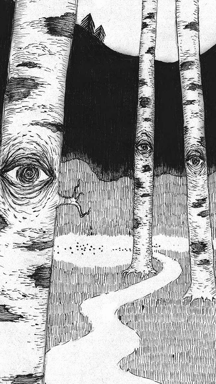 Papers.co-iPhone5-iphone6-plus-wallpaper-ai46-eye-in-woods-pencil-drawing-art-illust